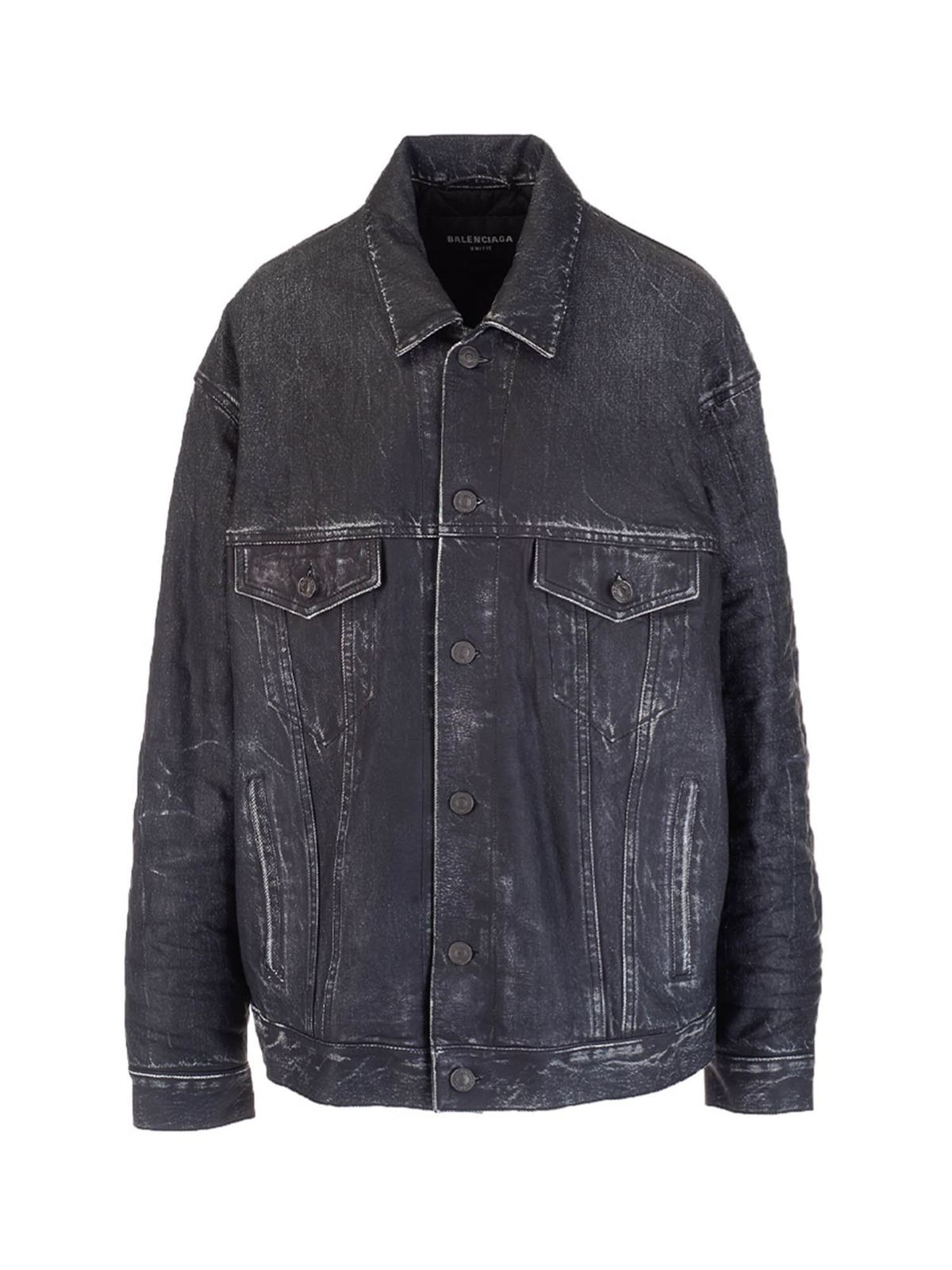 Balenciaga Denim Trompe-l'œil Leather Jacket In Black