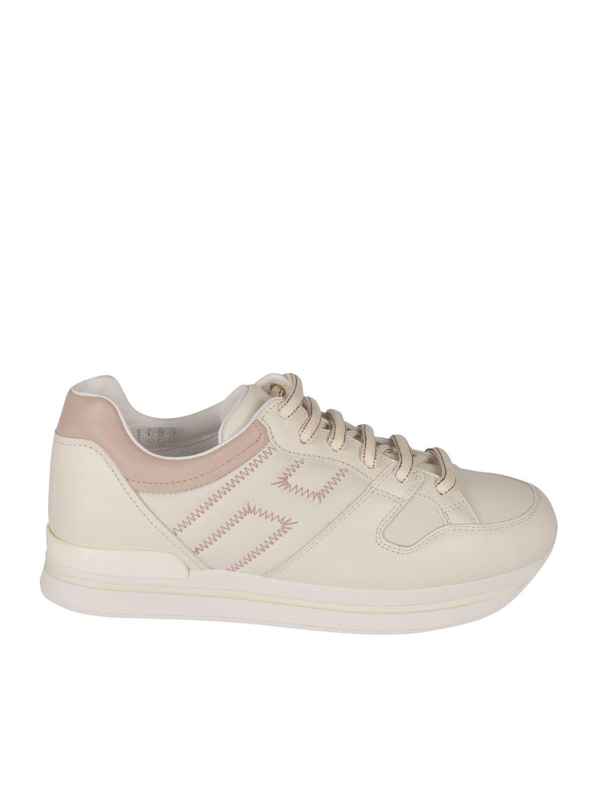 Hogan H222 Sneakers In Beige And Pink