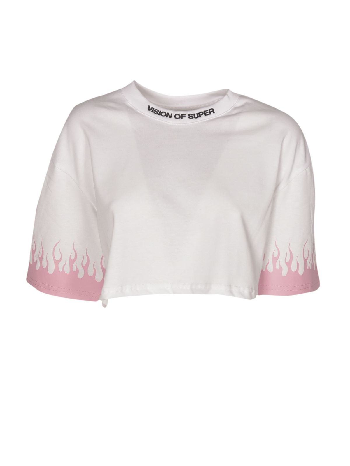 Vision Of Super Pink Flames T-shirt In White