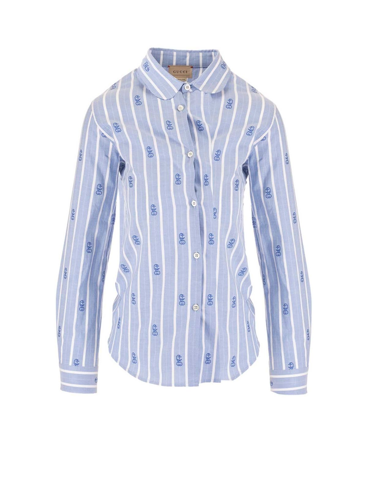 Gucci GG ANCHOR SHIRT IN LIGHT BLUE GUCCI KIDS