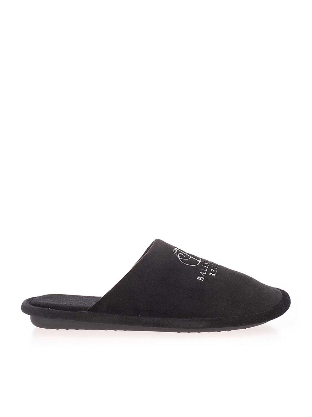 Balenciaga Velvets EMBROIDERED LOGO SLIPPERS IN BLACK