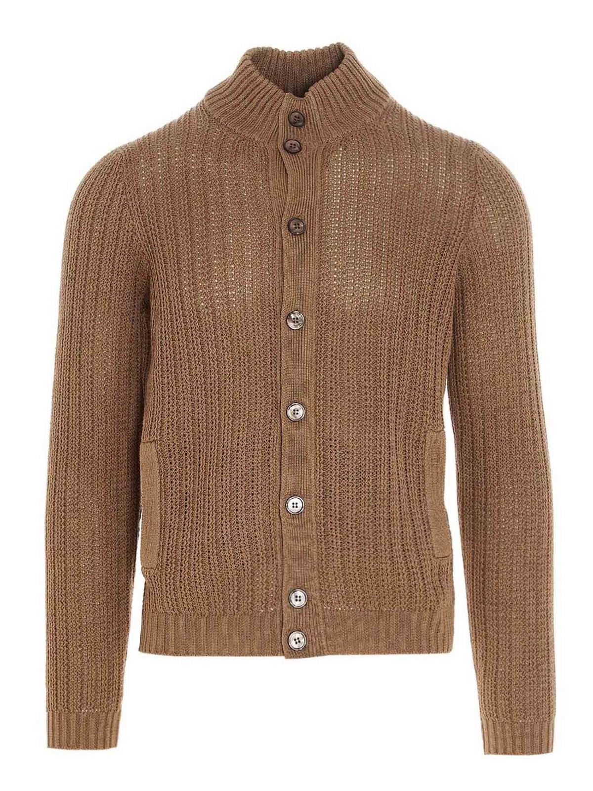 Zanone Cottons CHIOTO CARDIGAN IN BEIGE