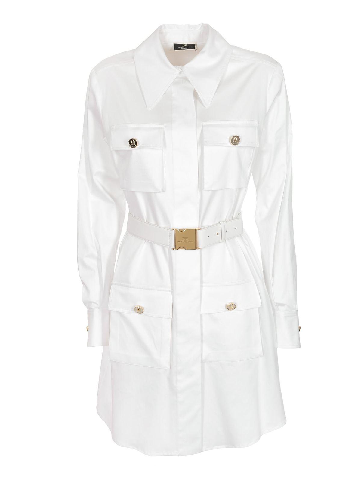 Elisabetta Franchi BELTED SHIRT DRESS IN WHITE