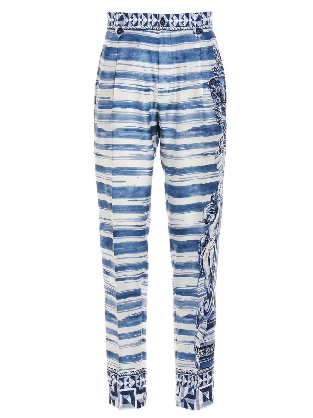 Dolce & Gabbana MAJOLICA PRINT PANTS IN BLUE
