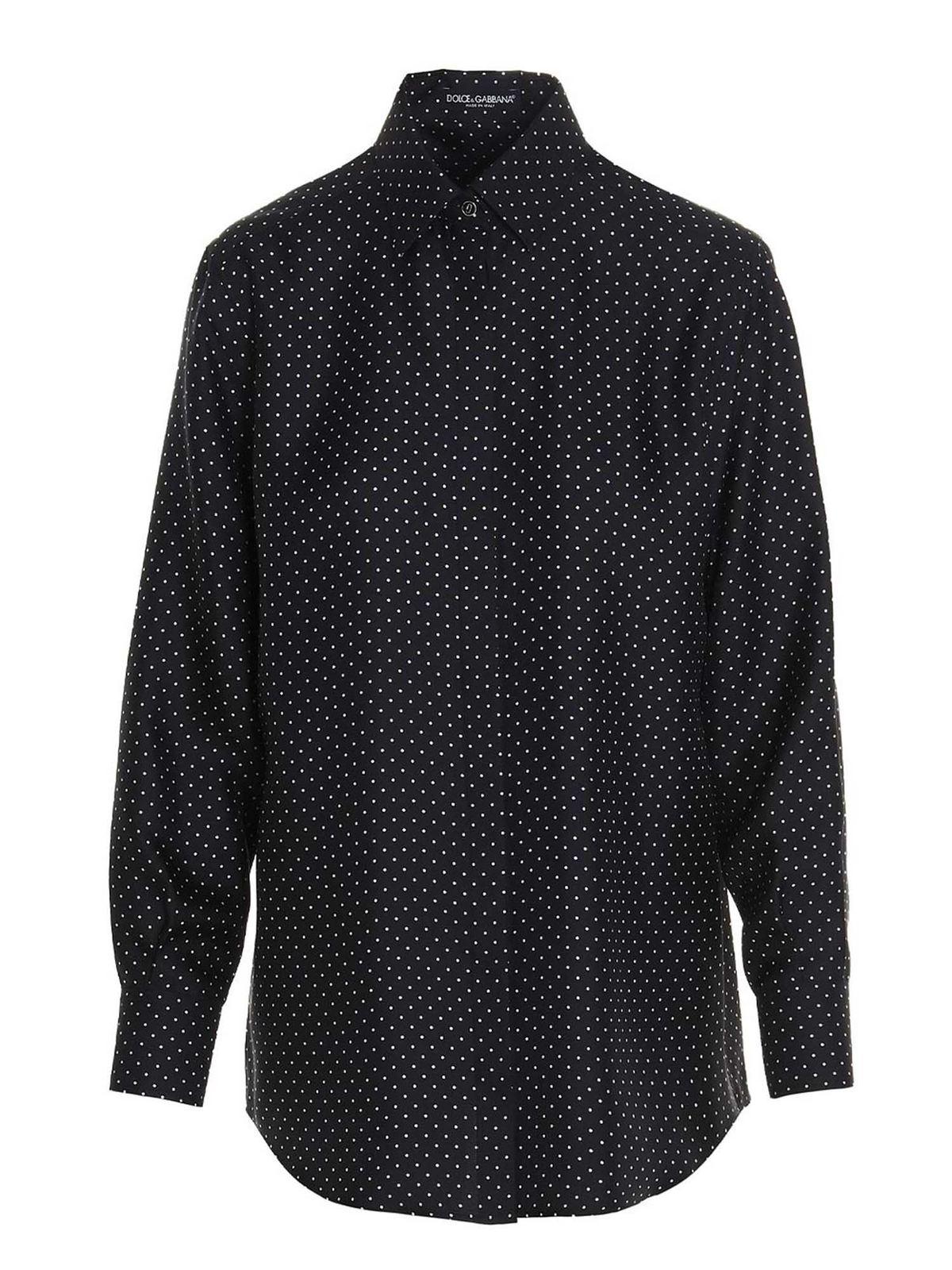 Dolce & Gabbana Silks POLKA DOT SHIRT IN BLACK