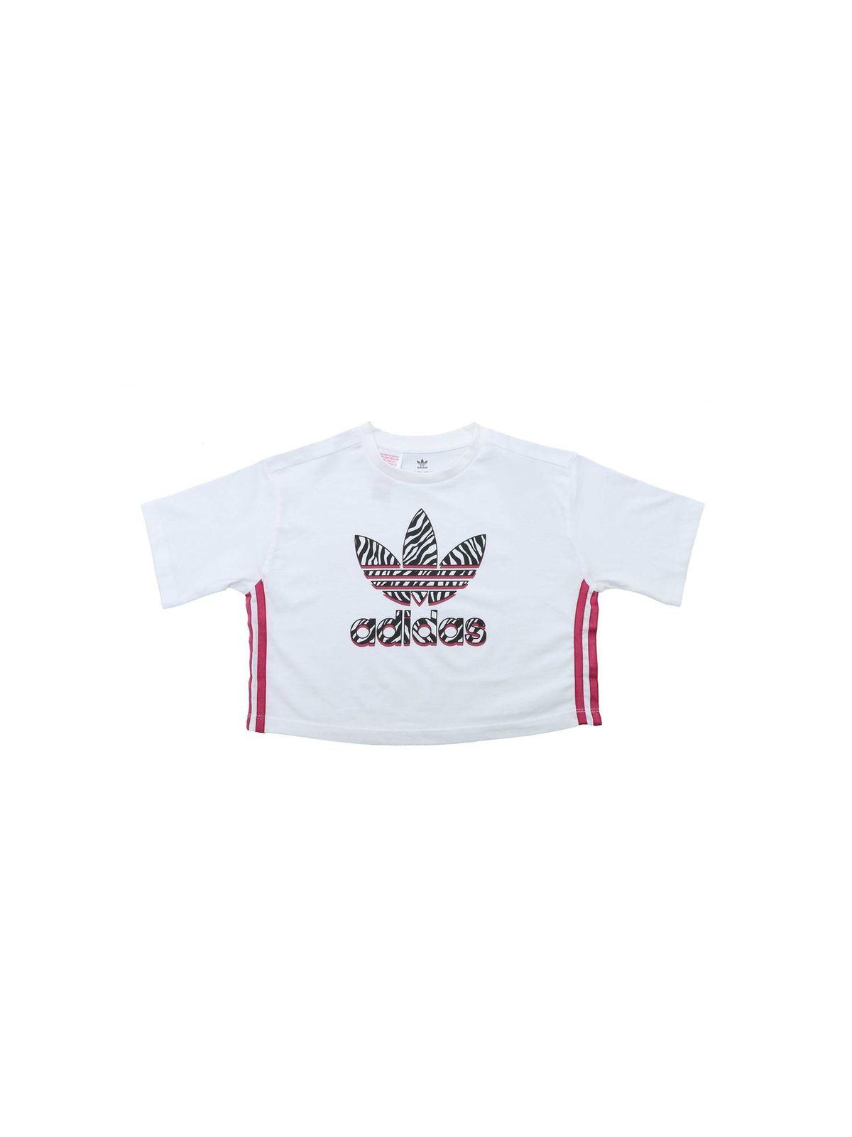 Adidas Originals Kids' Adidas Girls' Originals Zebra-infill Trefoil Cropped T-shirt In White