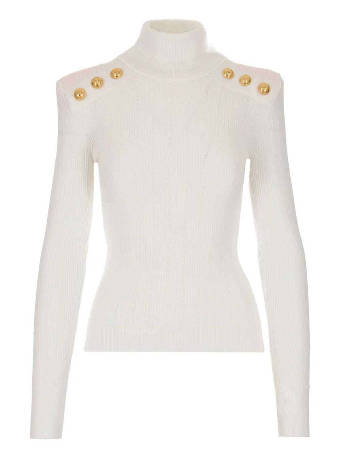 Balmain Buttons Sweater In White