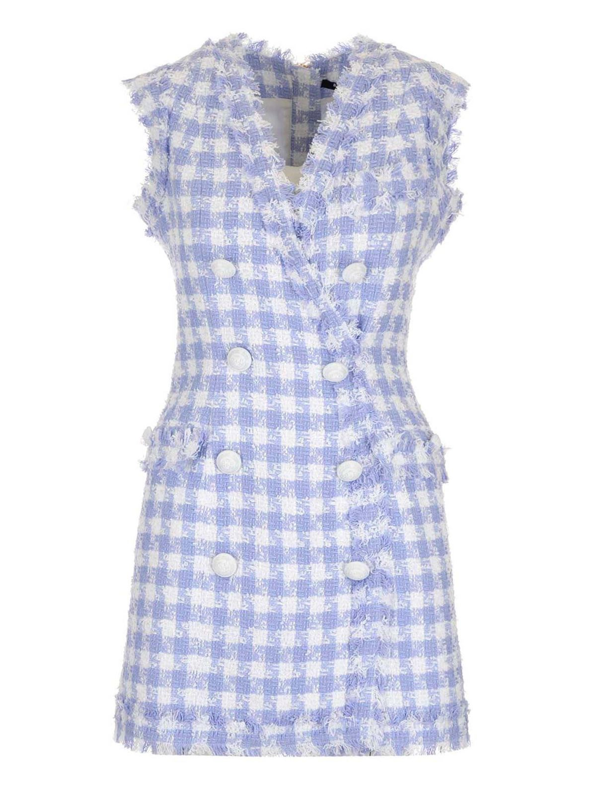 Balmain Checked Dress In Light Blue And White