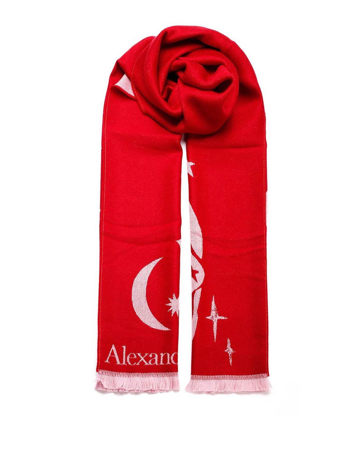 Alexander Mcqueen Mystical Overs Scarf In Red