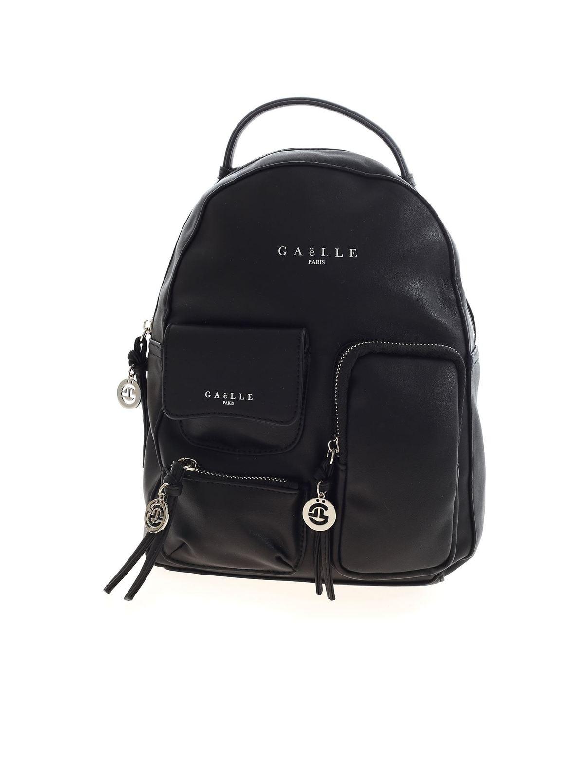 Gaelle Paris Multi Pocket Backpack In Black