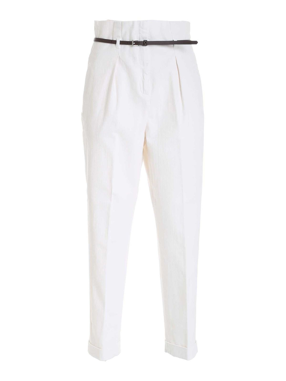 Peserico Belted Pants In White