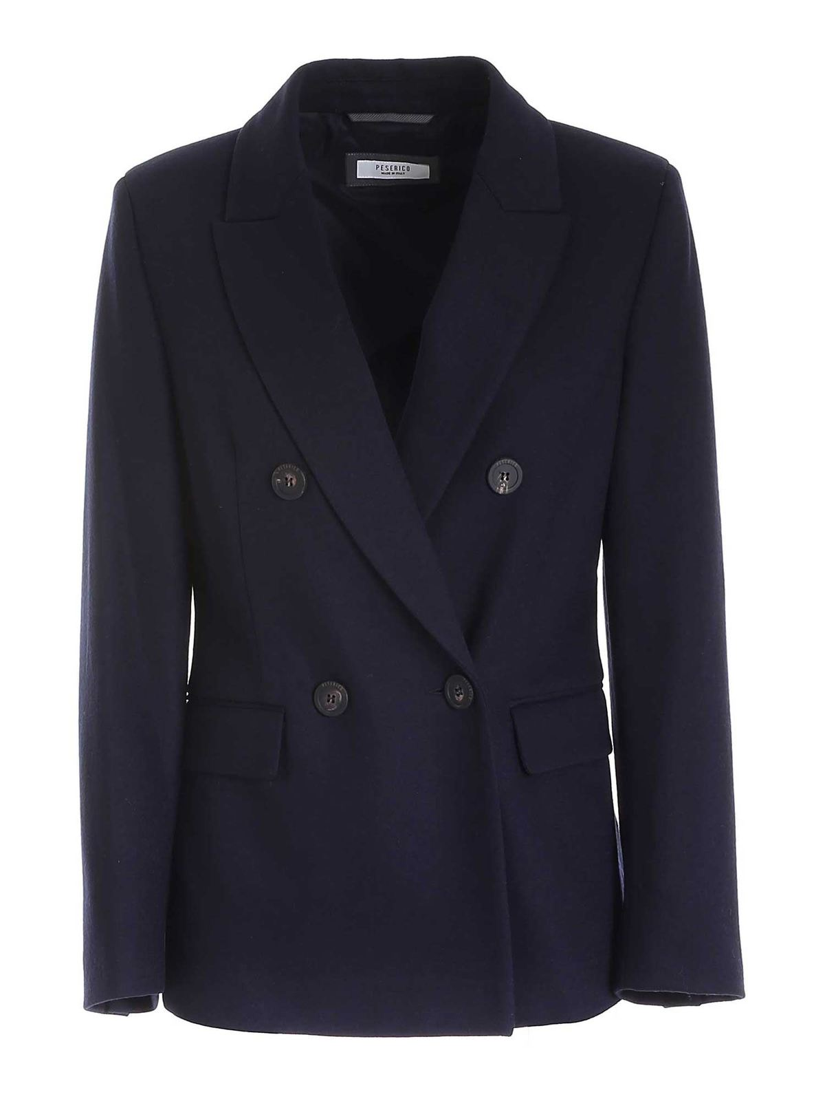 Peserico Double-breasted Jacket In Blue