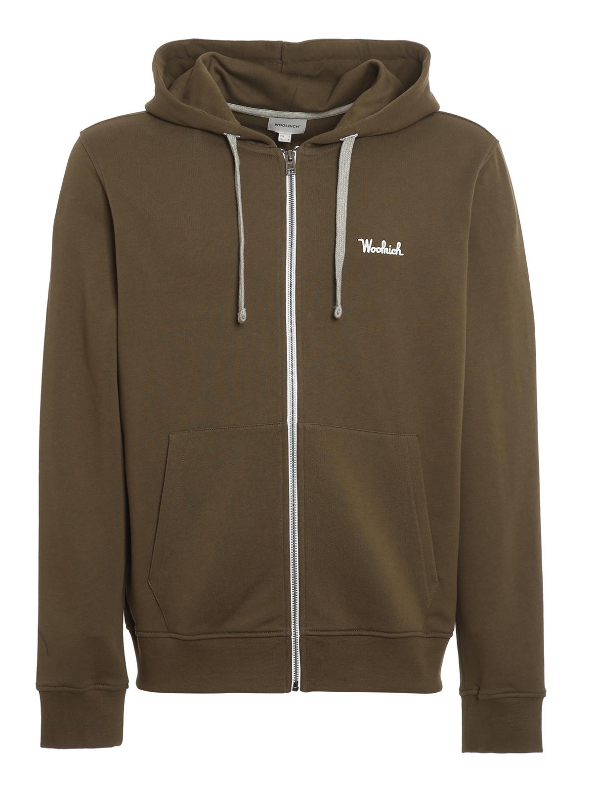 Woolrich Essential Full-zip Hoodie In Dark Green