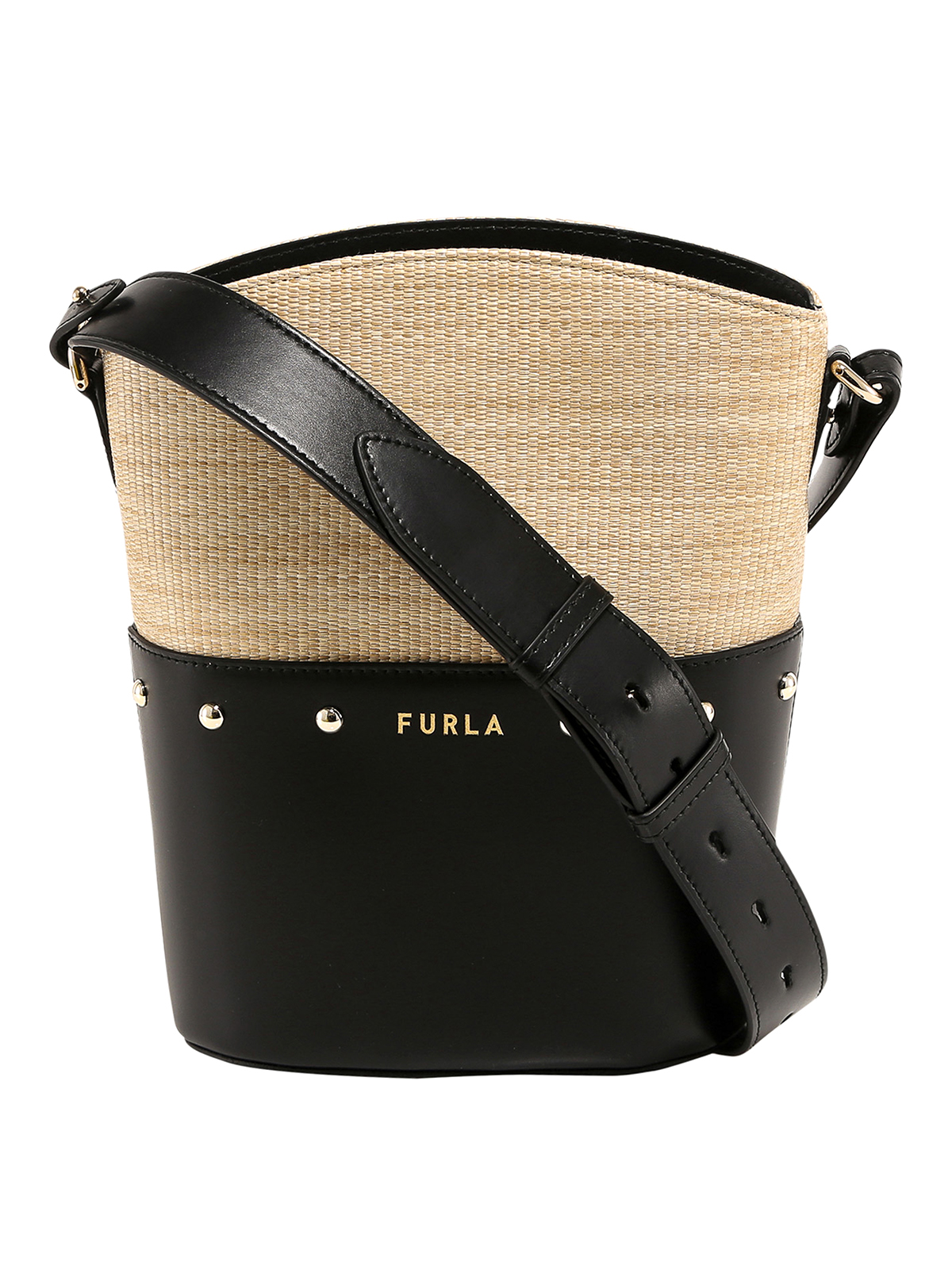 Furla Raffia And Leather Tote Bag In Beige And Black