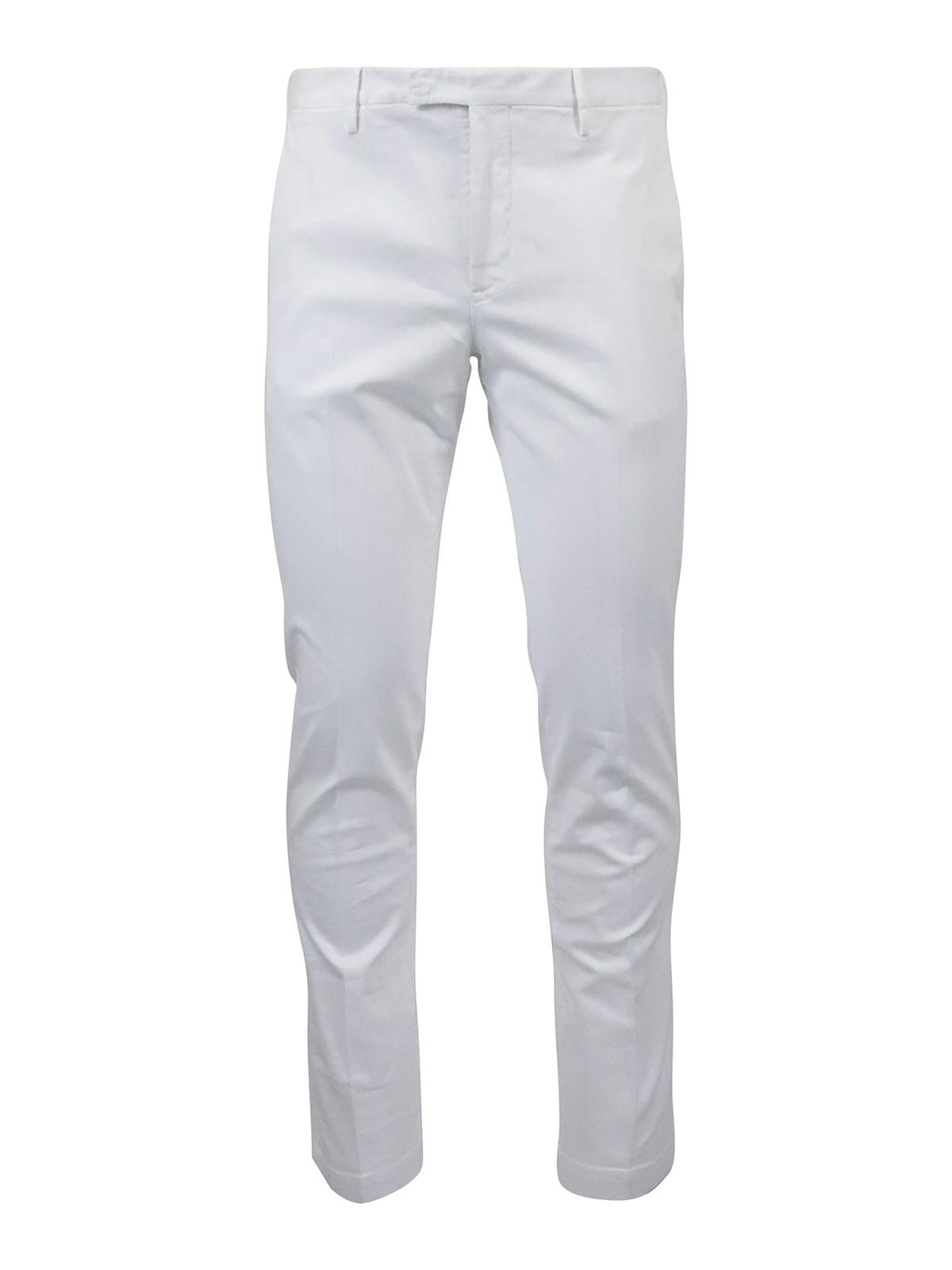Pt Torino Stretch Cotton Pants In White
