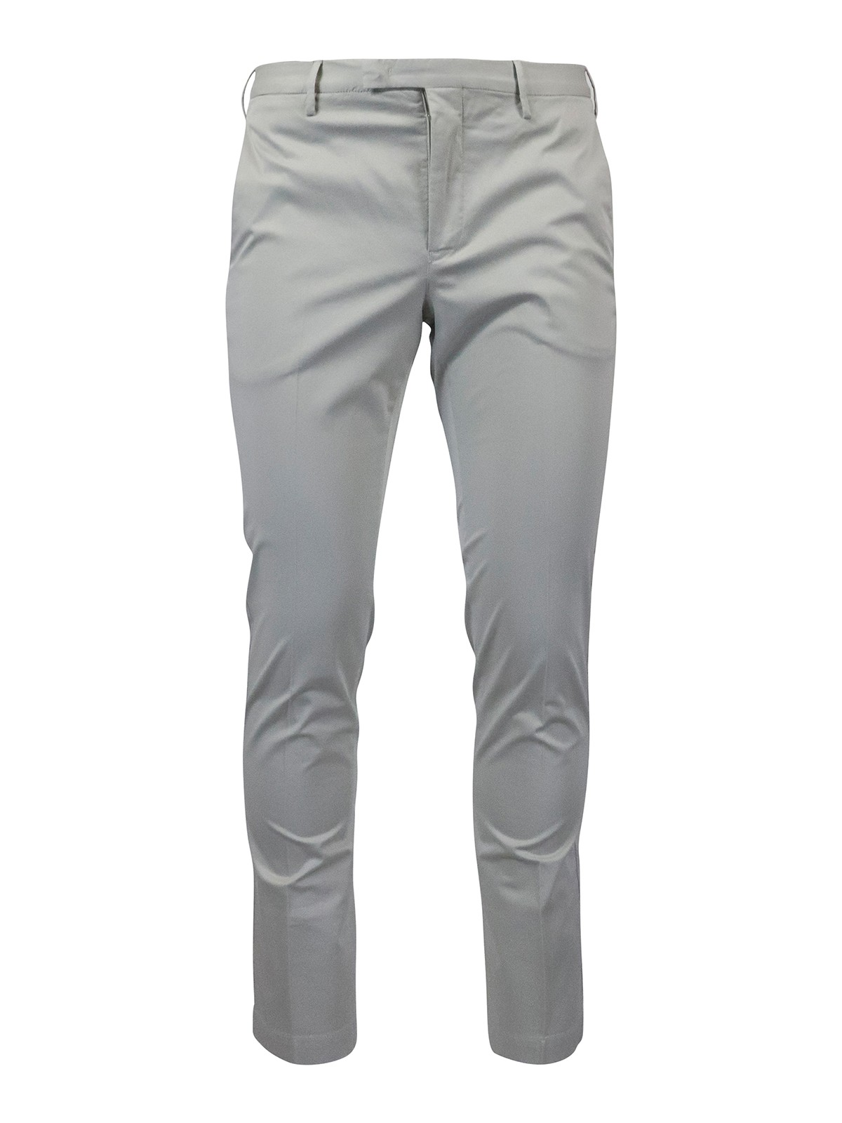 Pt Torino Stretch Cotton Pants In Grey In Beige