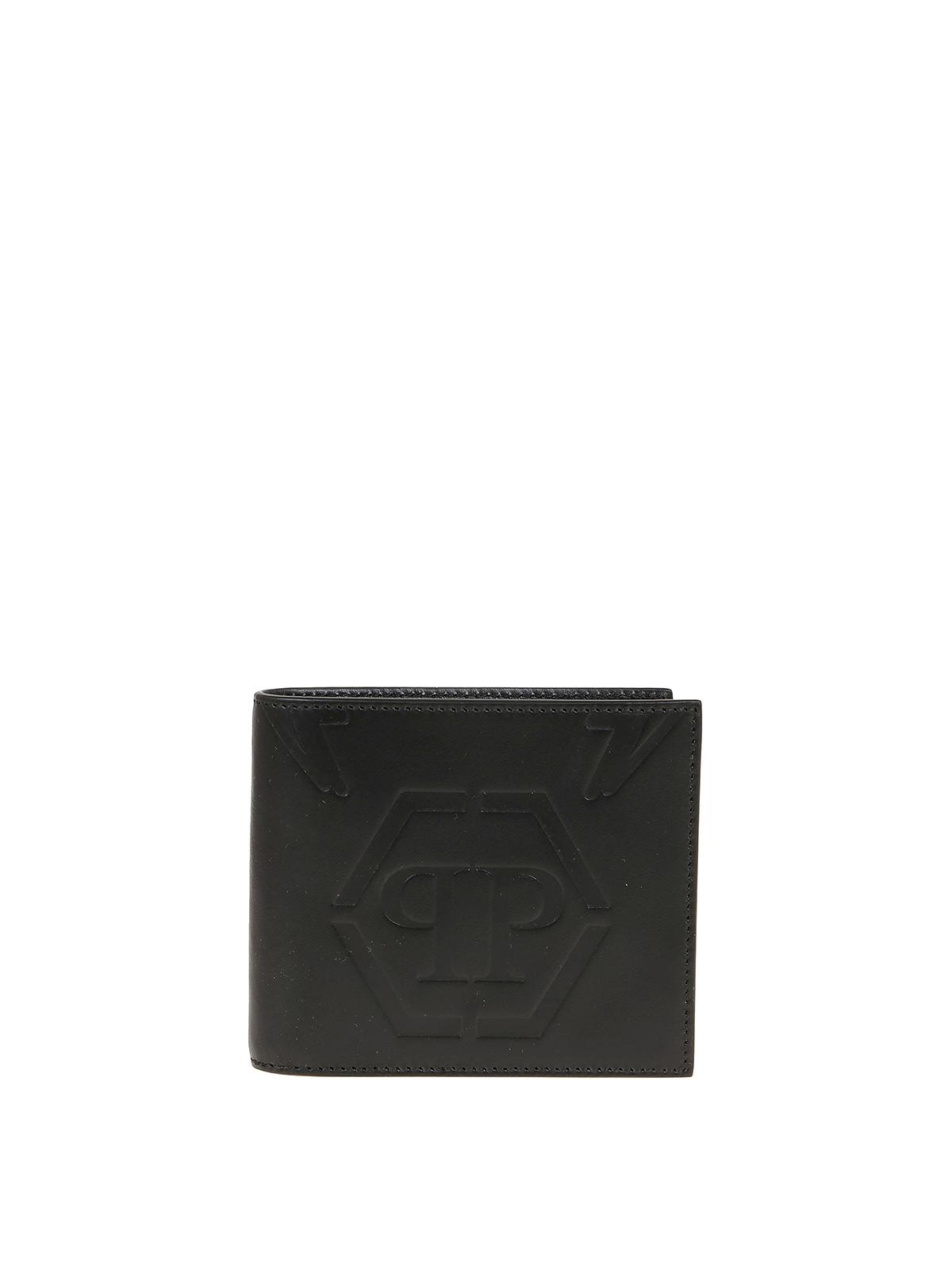 Philipp Plein Branded Bi-fold Wallet In Black