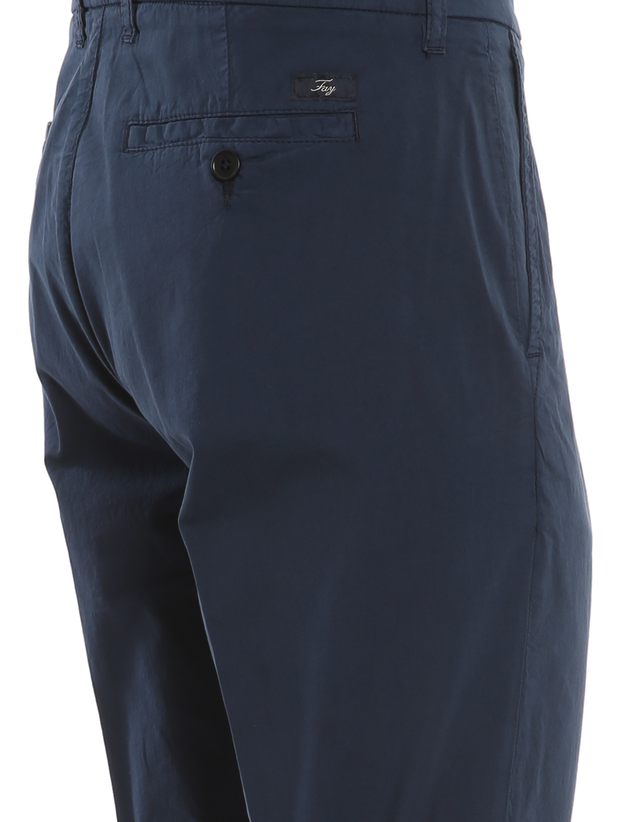 Fay Stretch Cotton Trousers In Blue