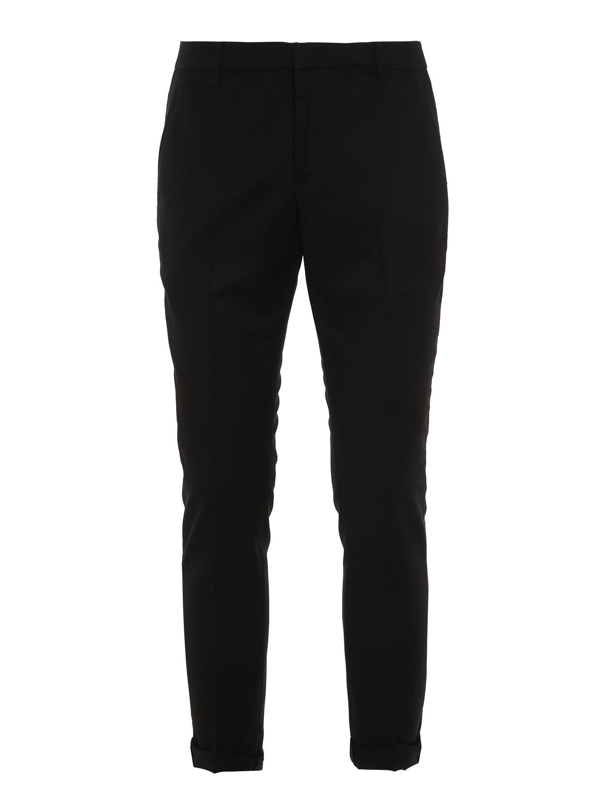 Dondup Gaubert Virgin Wool Trousers In Black