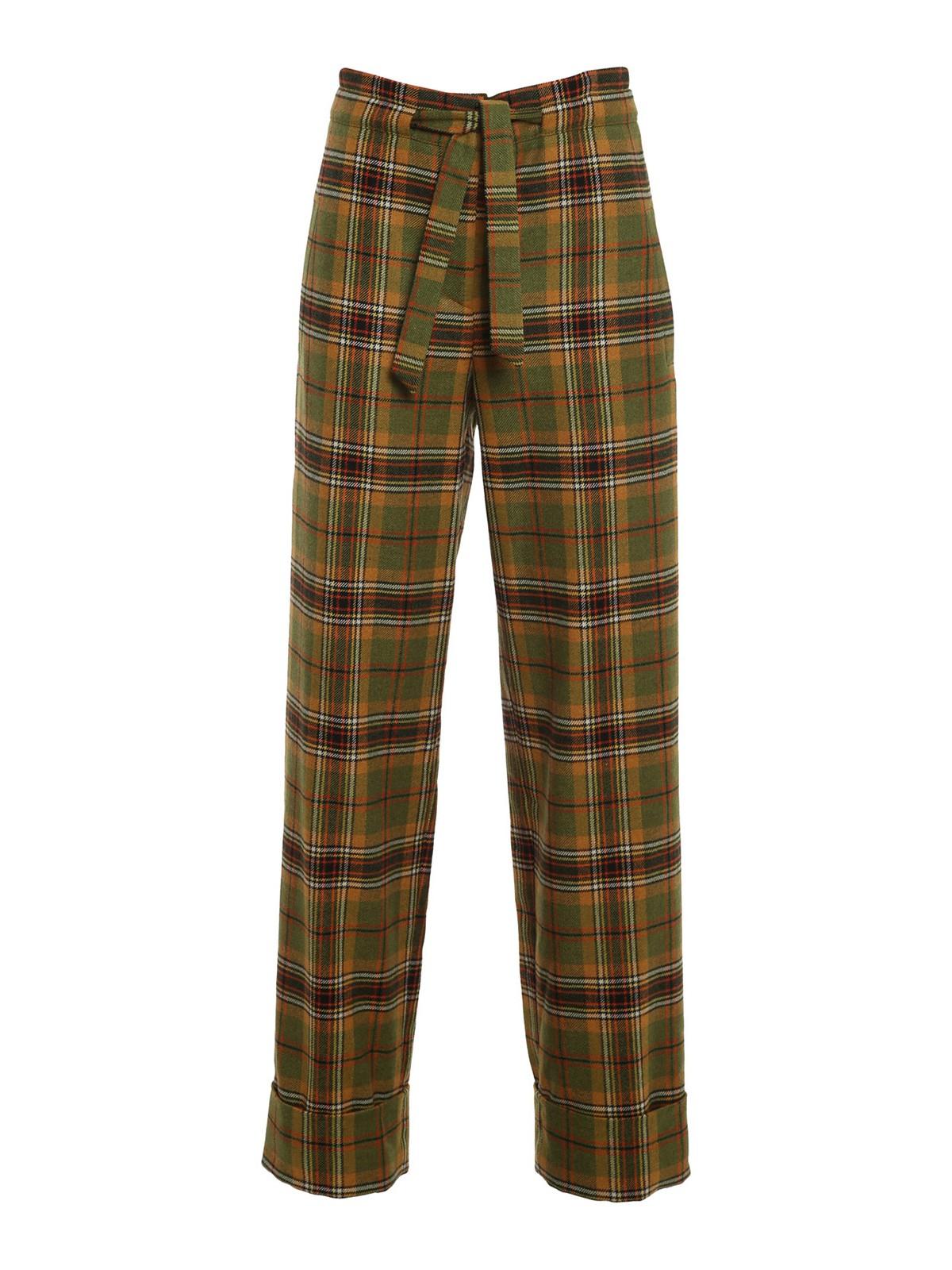 Alberta Ferretti Tartan Print Trousers In Green