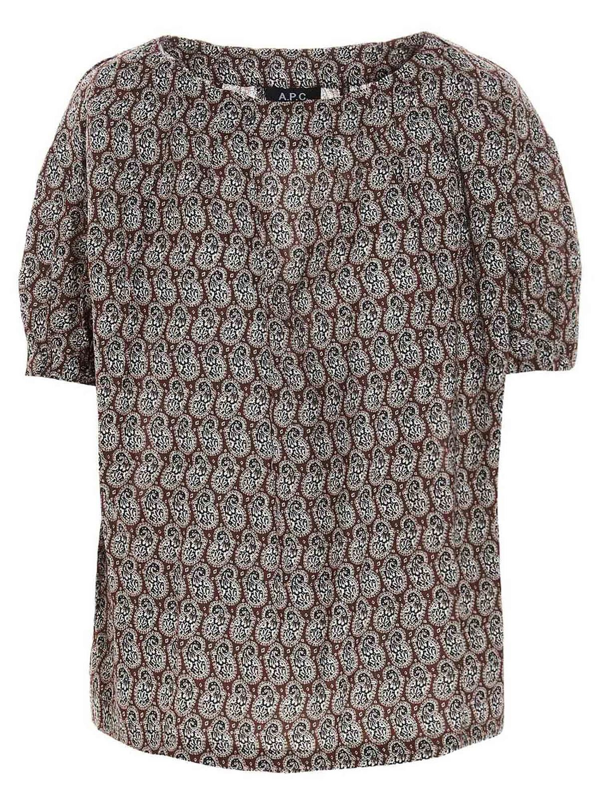 A.p.c. Cottons LIZA BLOUSE IN NUT BROWN