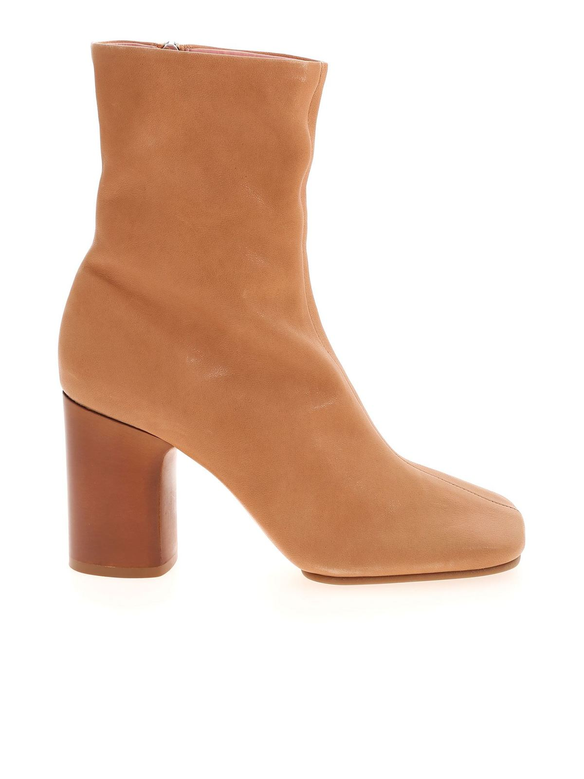 Acne Studios SQUARE TOE ANKLE BOOTS IN BEIGE