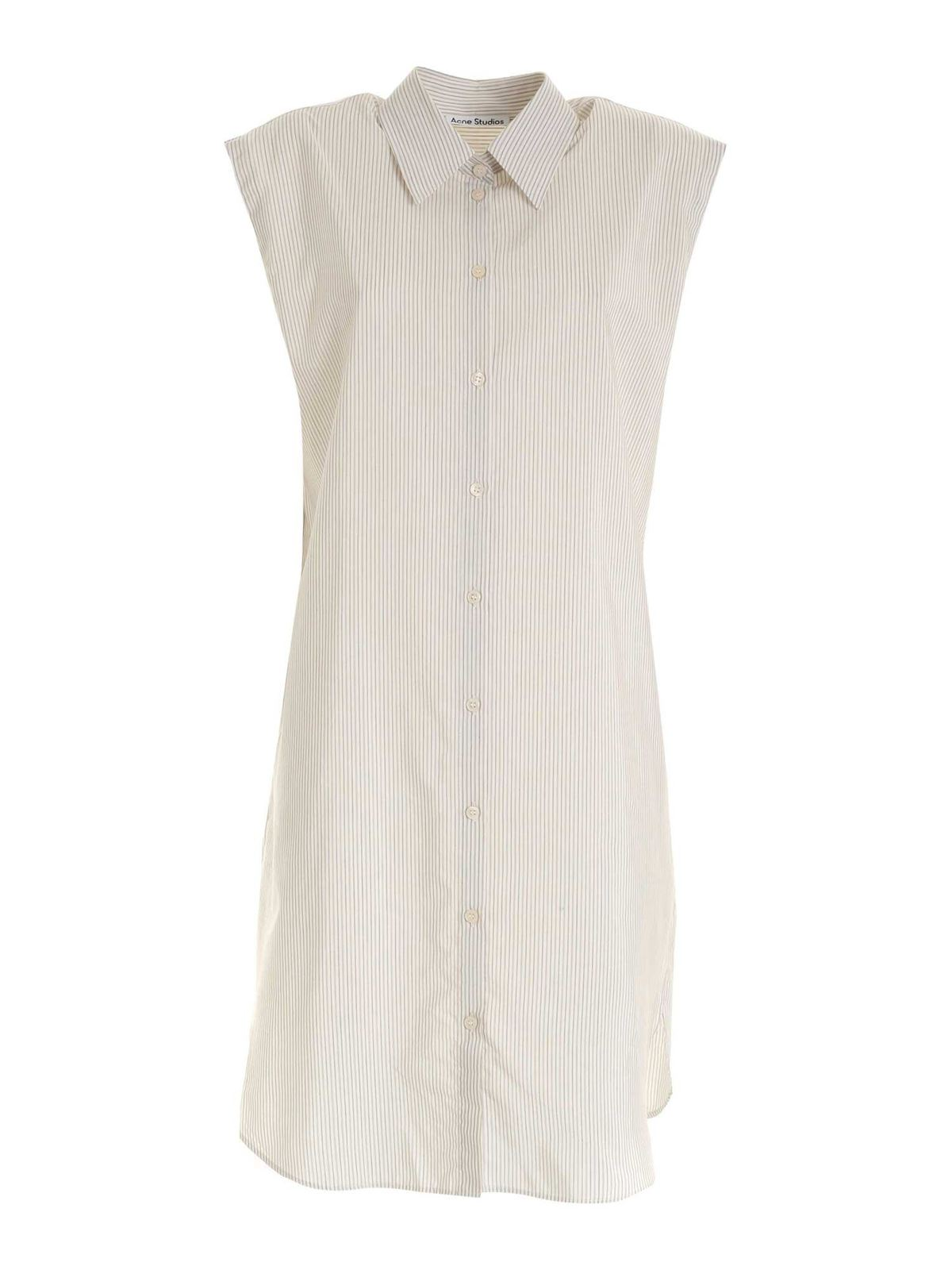 Acne Studios STRIPED SHIRT DRESS IN WHITE