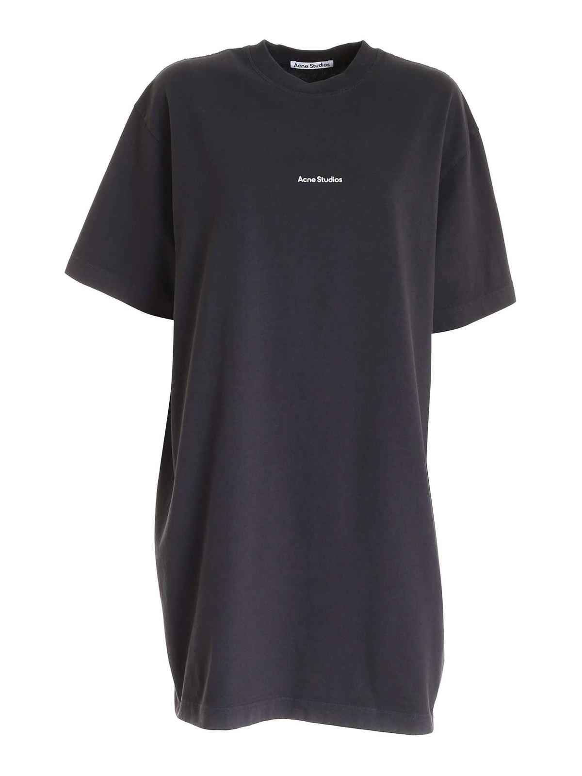 Acne Studios LOGO PRINT MAXI T-SHIRT IN BLACK
