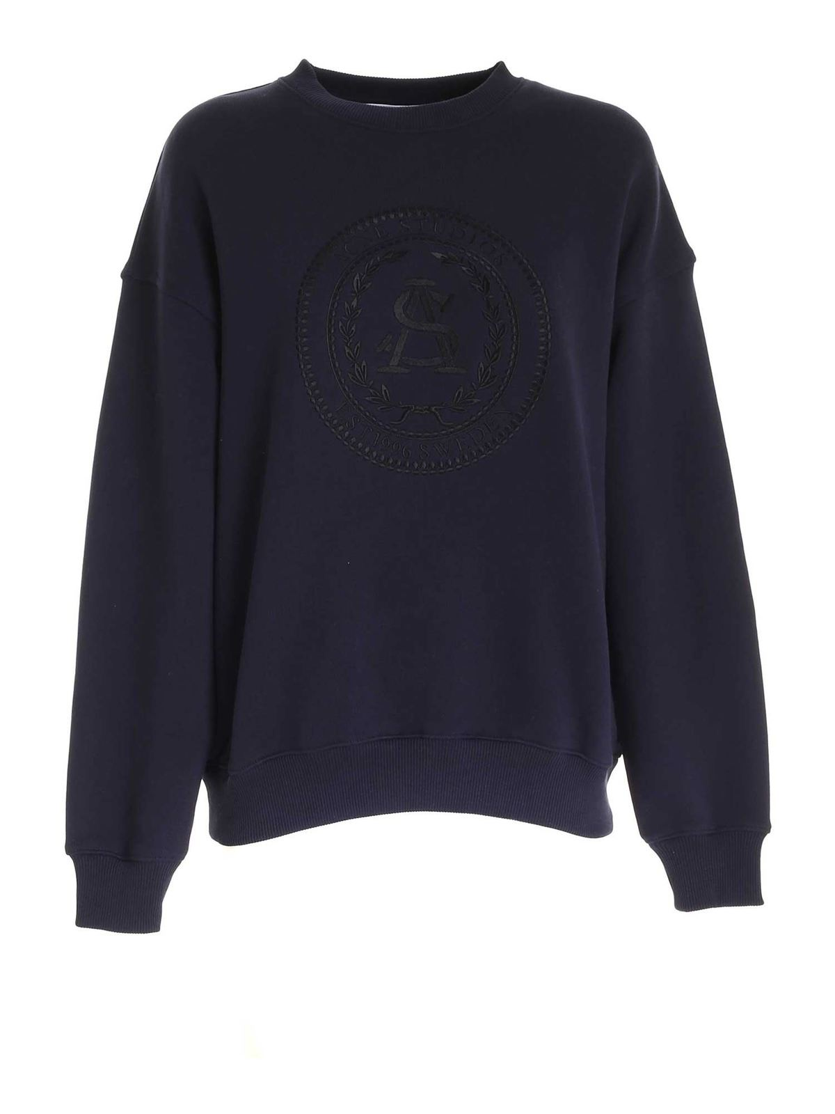 ACNE STUDIOS EMBROIDERED CREWNECK SWEATSHIRT IN BLUE