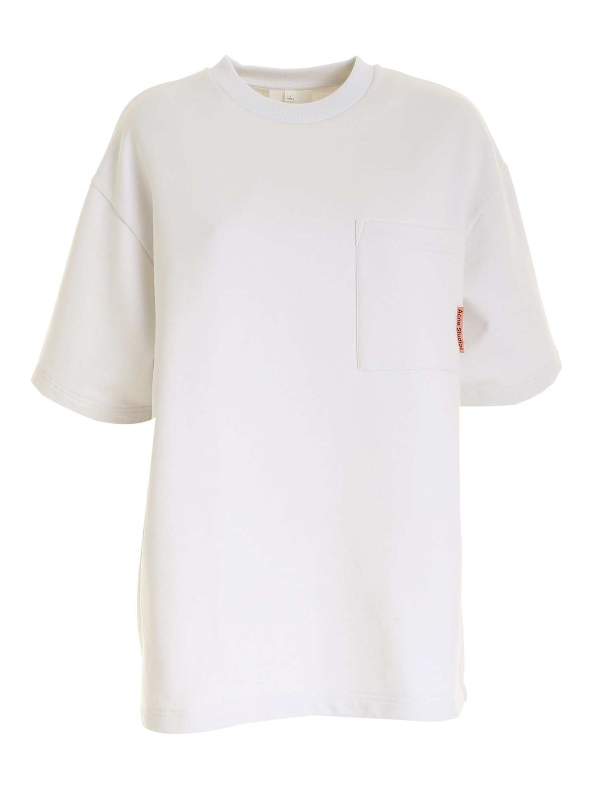 Acne Studios OVERSIZE SHORT SLEEVES SWEATSHIRT IN WHITE