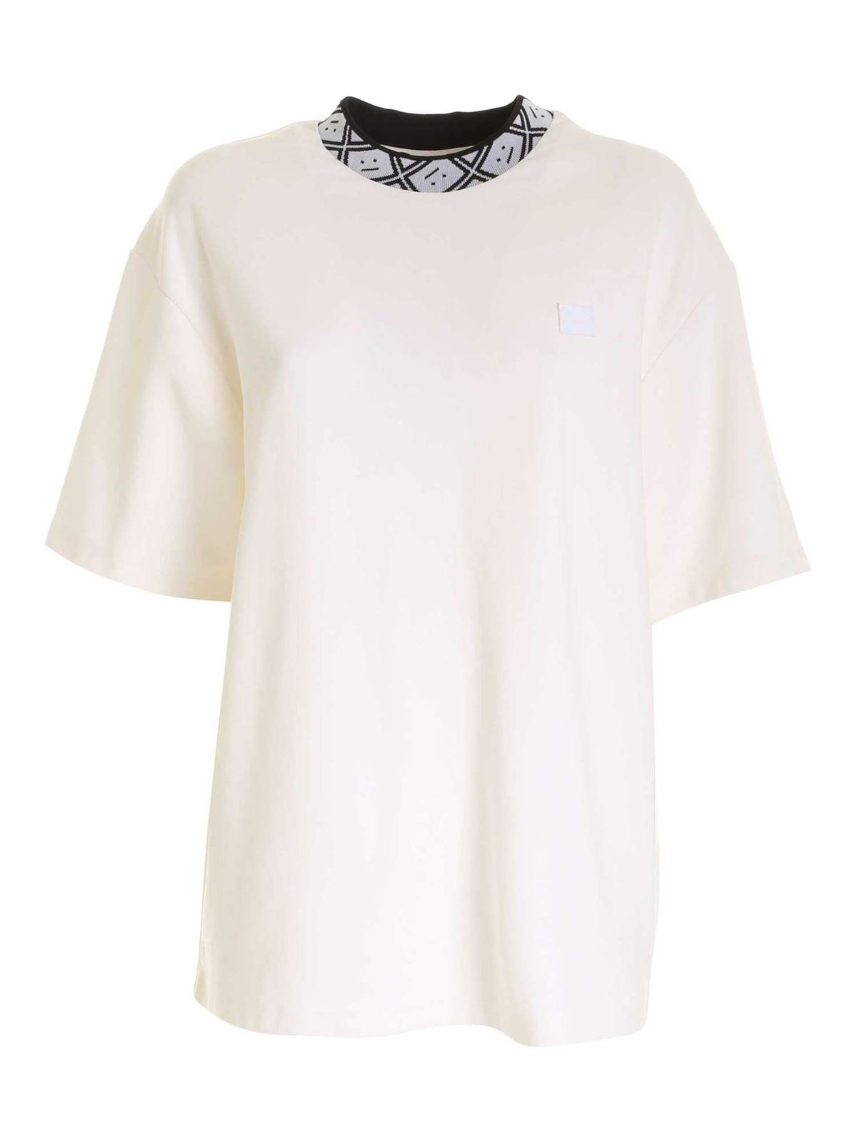 Acne Studios BRANDED COLLAR T-SHIRT IN WHITE