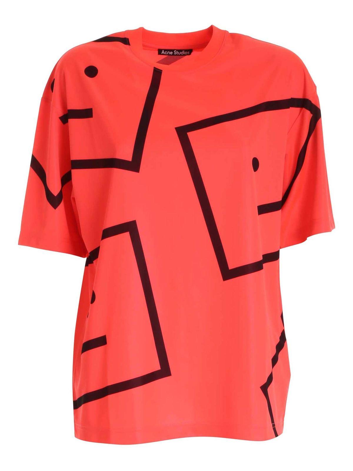 Acne Studios T-shirts LOGO T-SHIRT IN NEON PINK