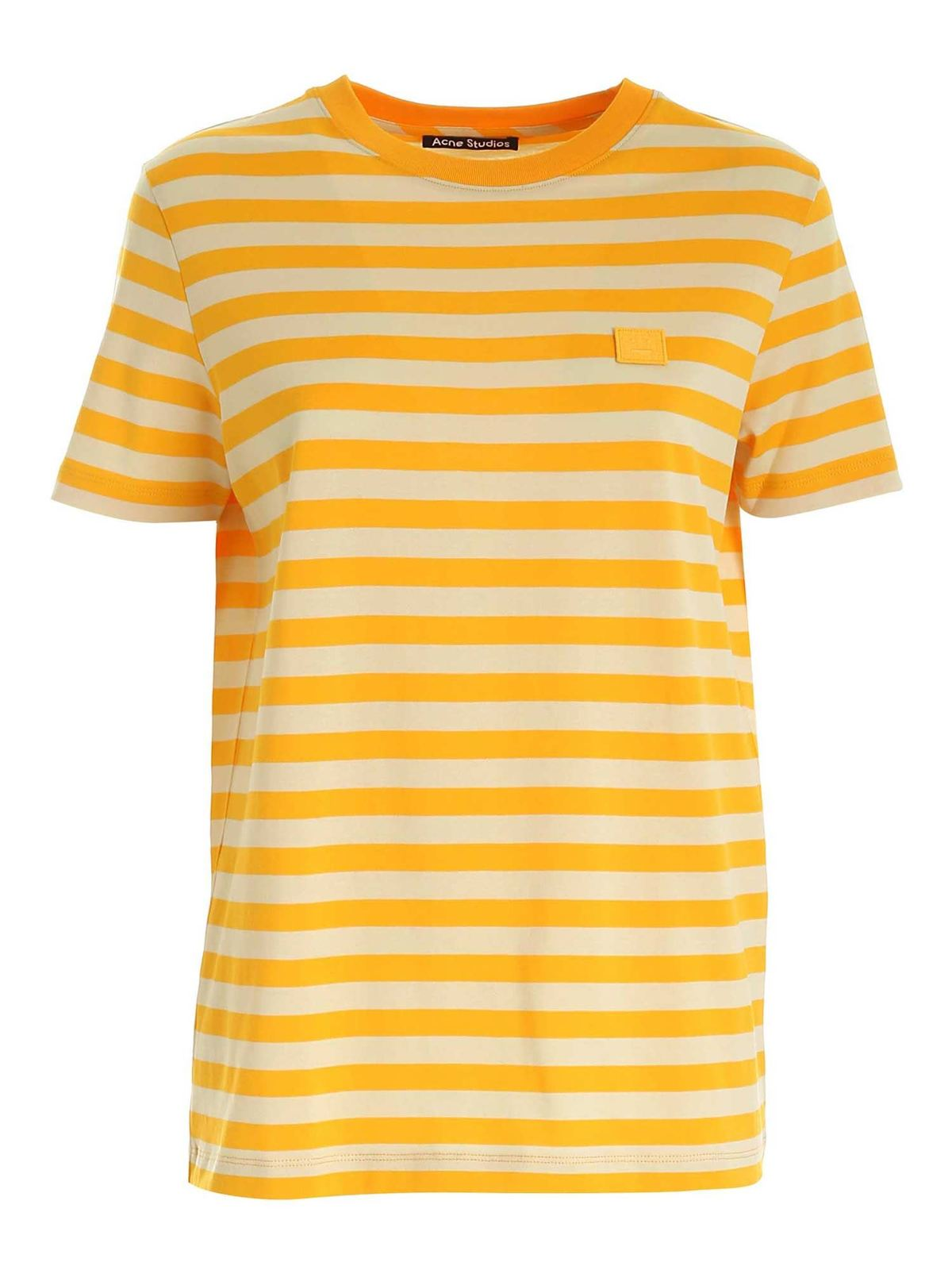 Acne Studios STRIPED T-SHIRT IN DEEP YELLOW