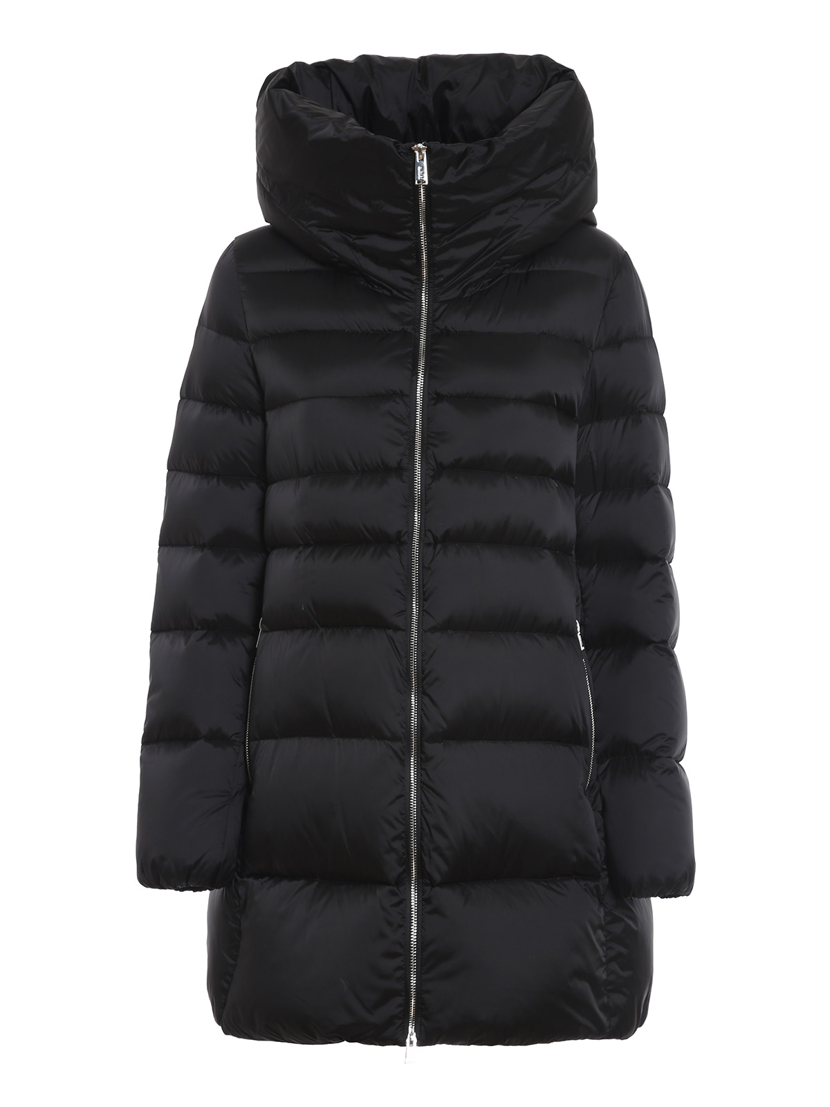 Add BLACK QUILTED LONGUETTE PUFFER JACKET