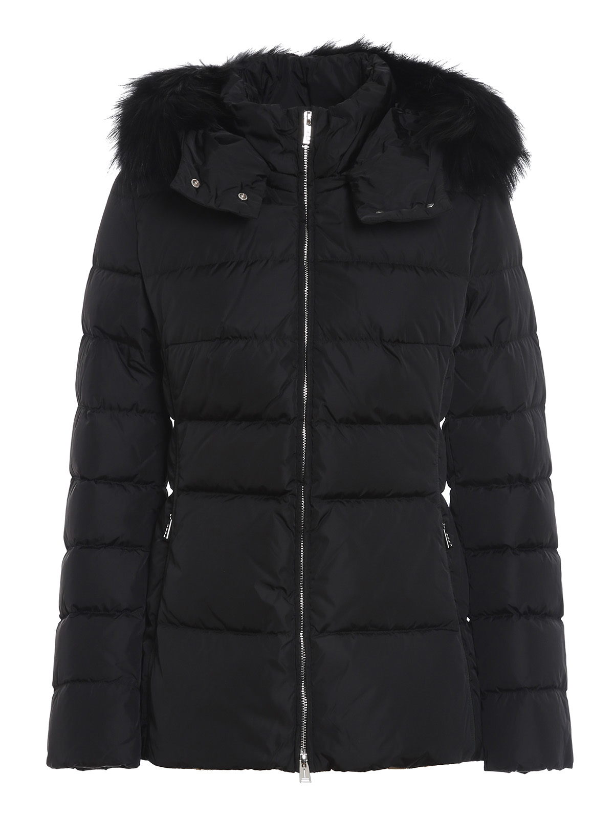 Add Downs BLACK QUILTED SHORT PUFFER JACKET