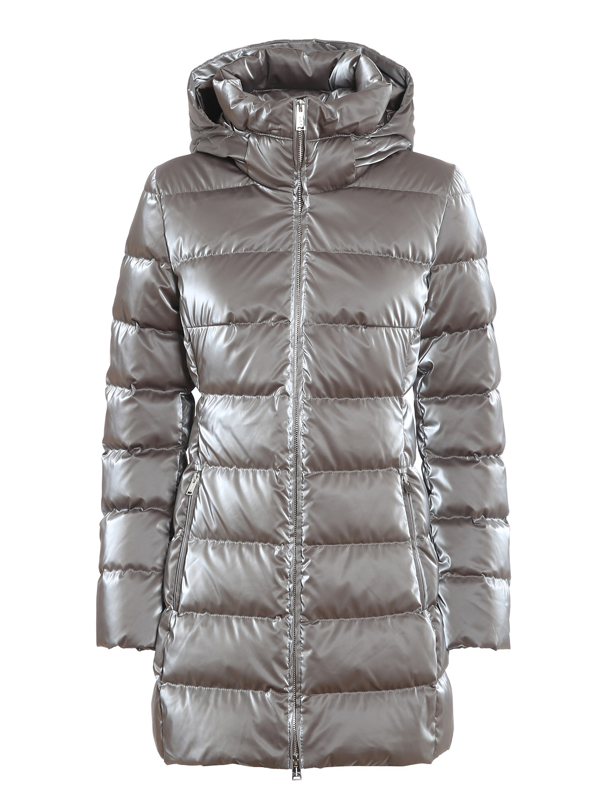 Add LAMINATED EFFECT LONGUETTE PUFFER JACKET
