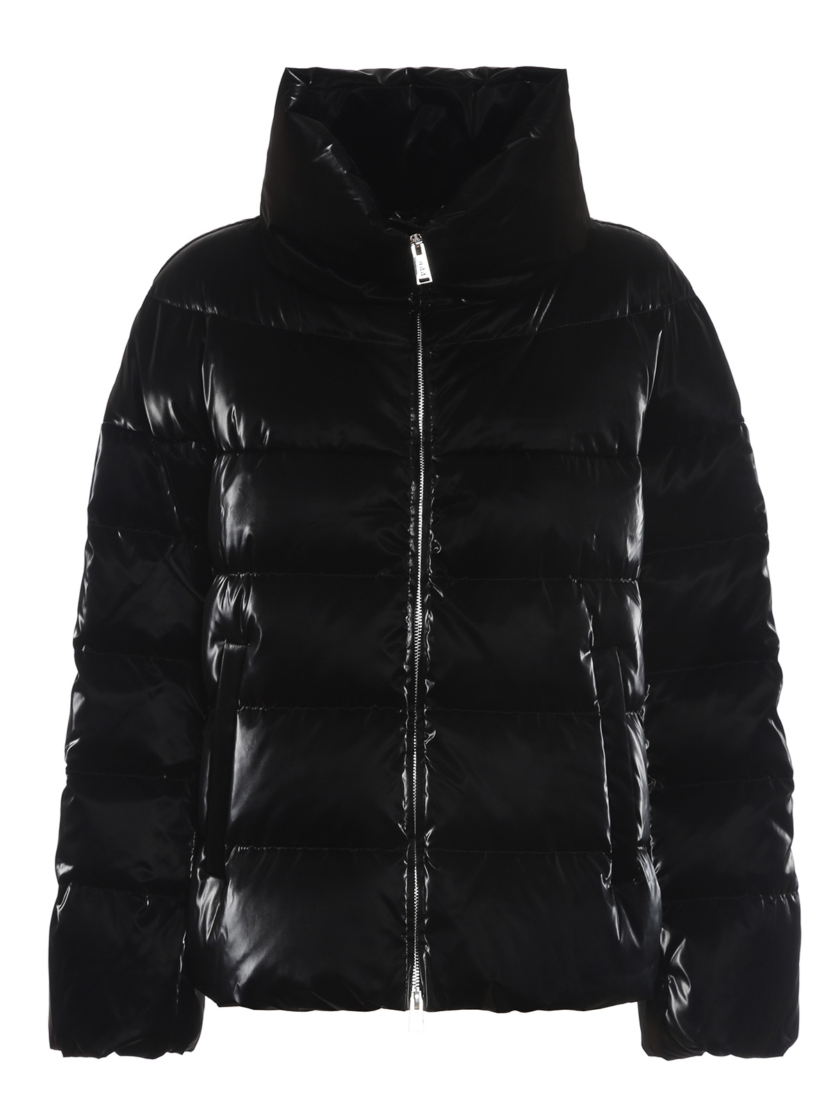 Add PATENT EFFECT SHORT PUFFER JACKET