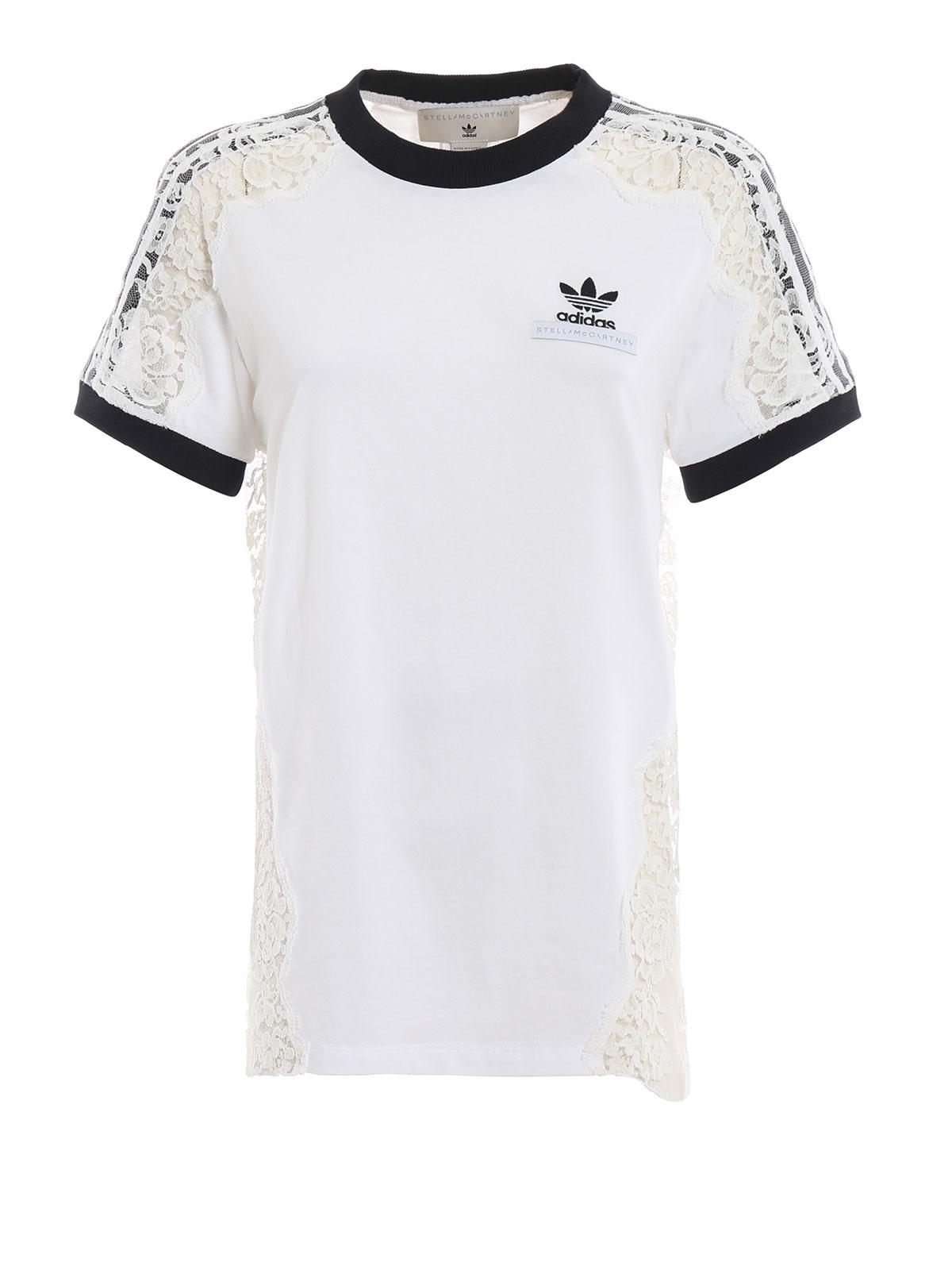d31142c0cd Adidas by Stella McCartney - See-through lace detail white T-shirt ...