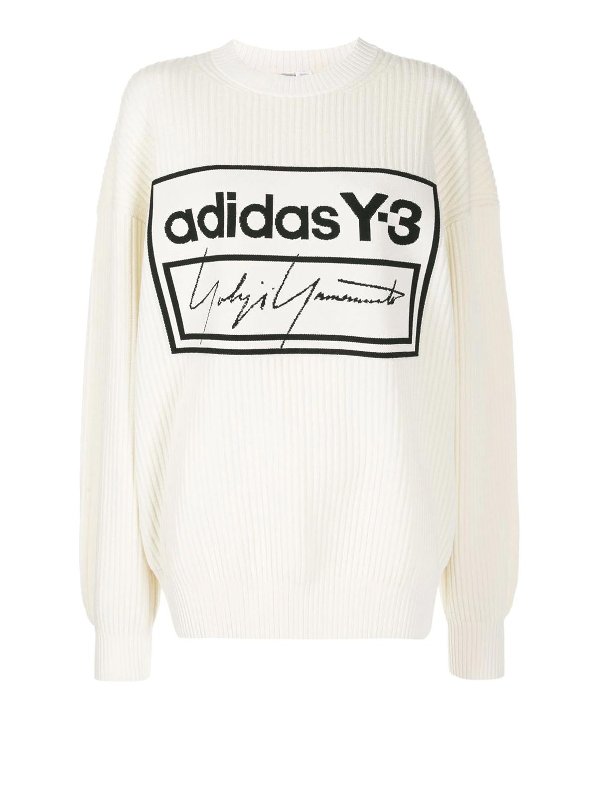 grieta Debilitar Expresamente  Adidas Y-3 - Jacquard logo wool blend sweater - یقه گرد - FJ0375