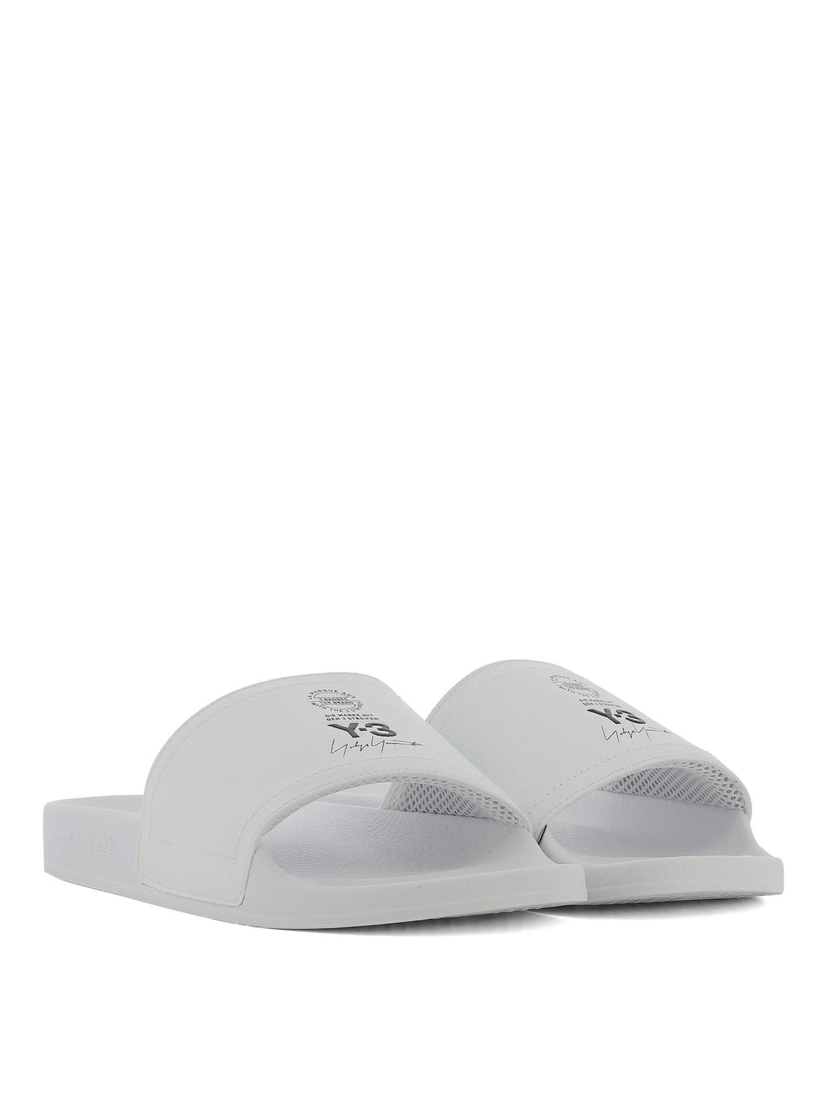 d3d1e0e4c336 ADIDAS Y-3  sandals online - Printed logo white leather slides