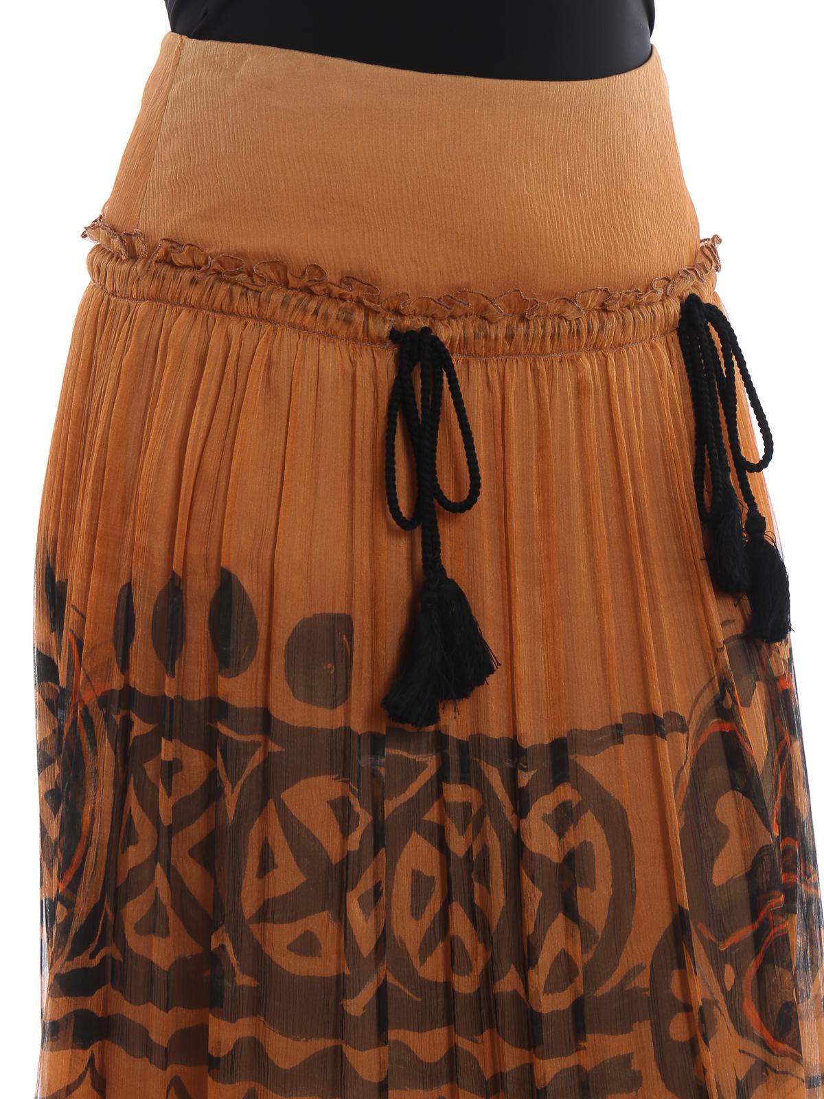scarpe di separazione d03e9 d1705 Alberta Ferretti - Gonna lunga etnica in seta con nappine ...