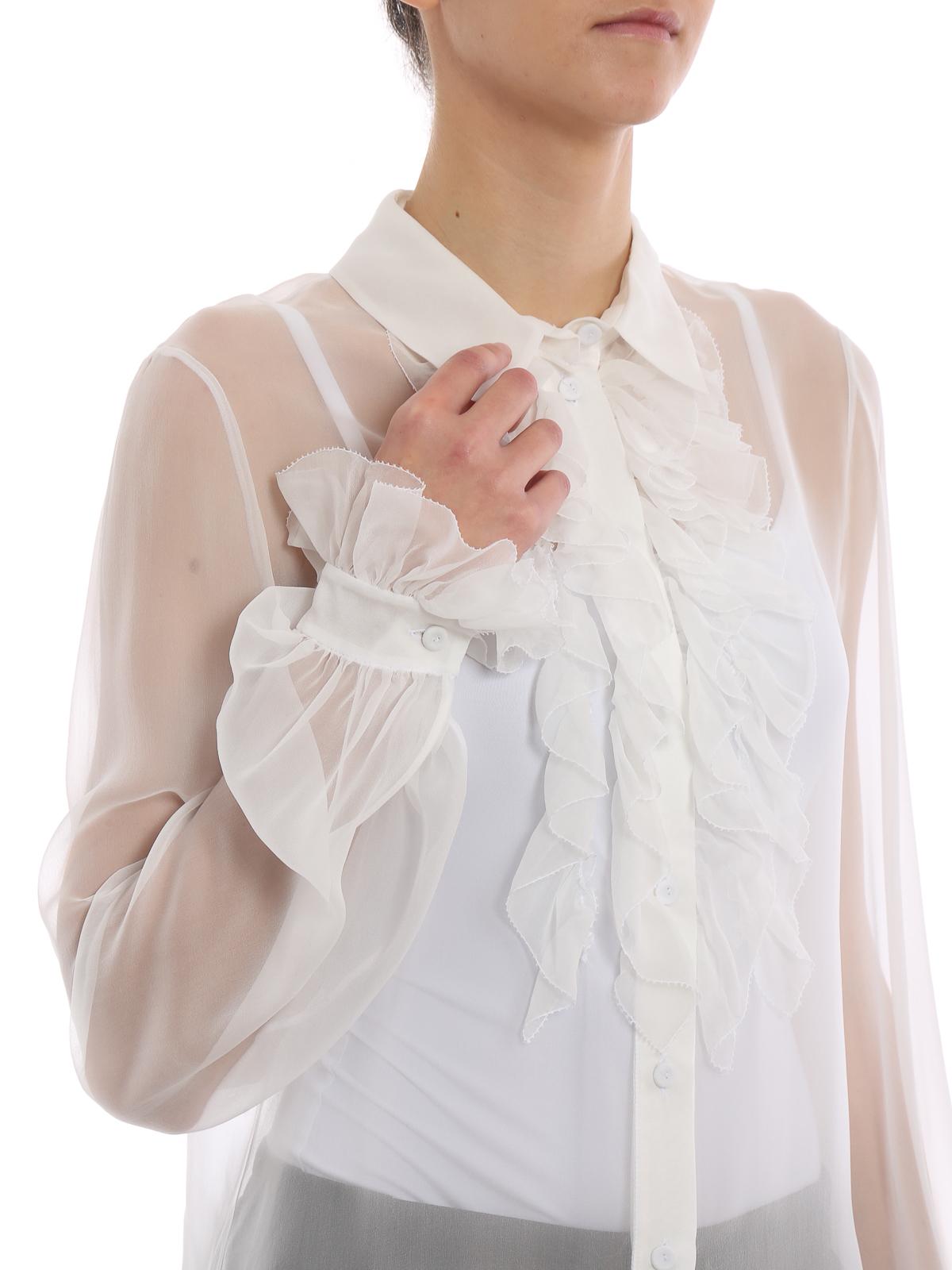 0c5fcd29db Alberta Ferretti - Camicia bianca in seta con rouches - camicie ...
