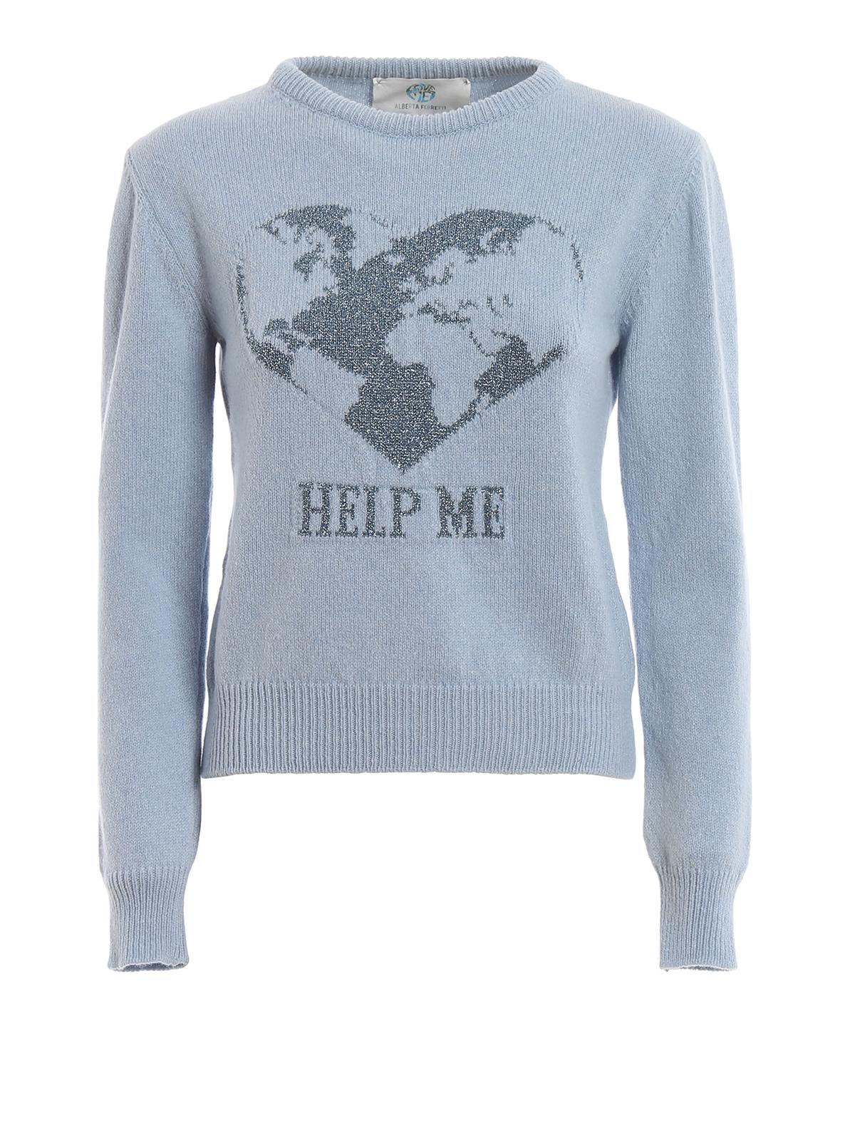 nuovi stili 1ea7b d833d Alberta Ferretti - Maglione Help Me in cashmere celeste ...