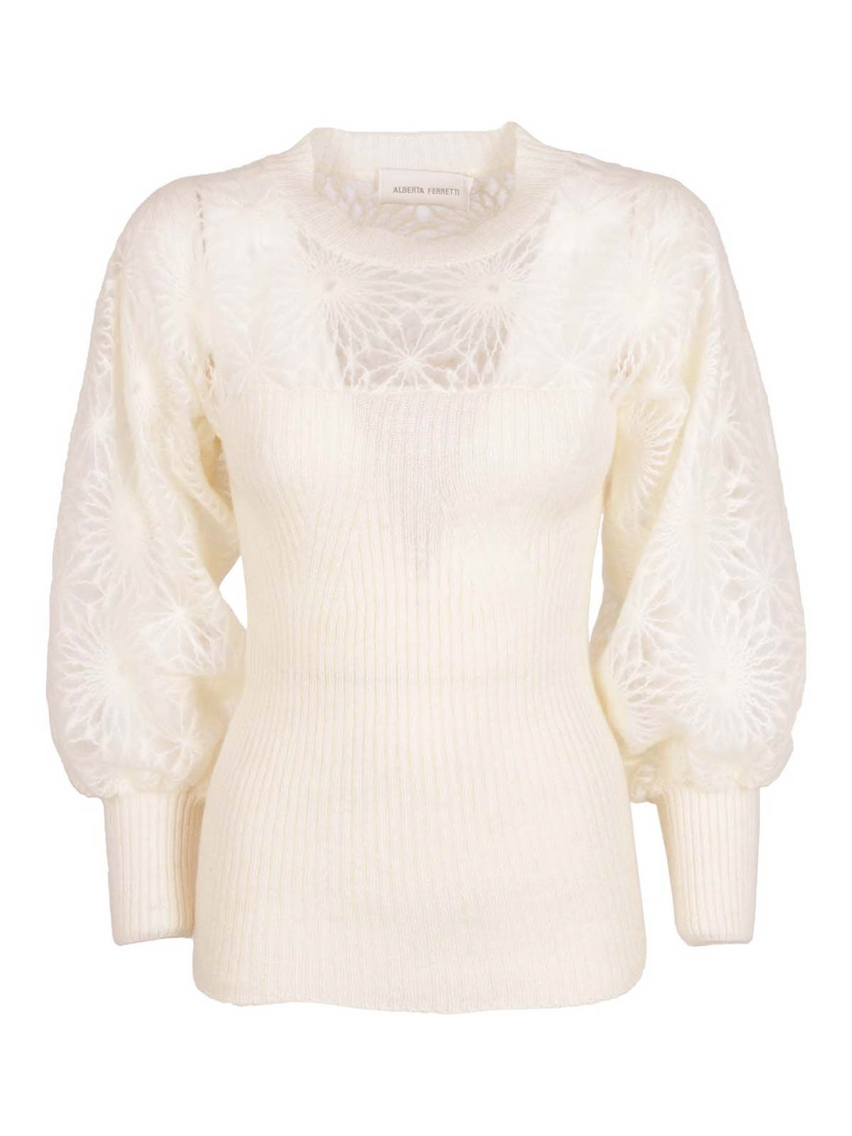 Alberta Ferretti SEE-THROUGH EMBROIDERY CASHMERE JUMPER