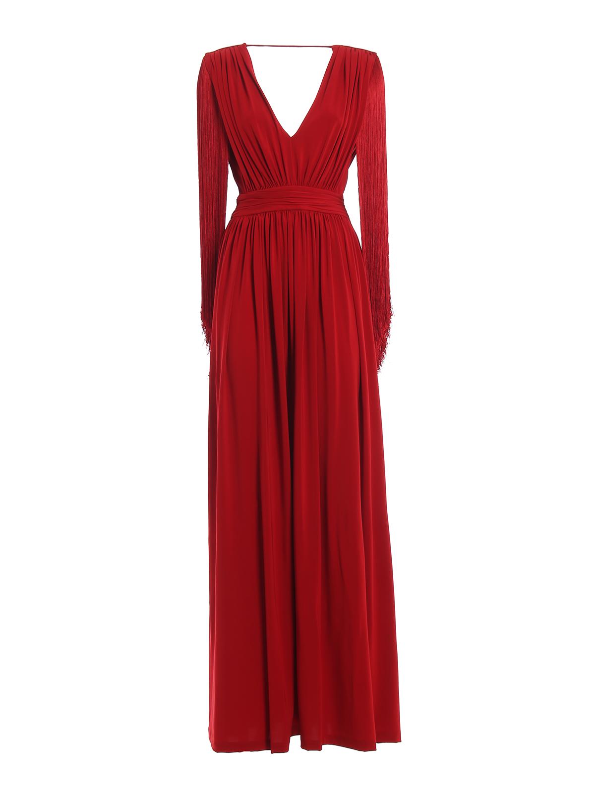 b811a1a52e87 ALBERTA FERRETTI  abiti da sera - Abito lungo rosso in viscosa con frange