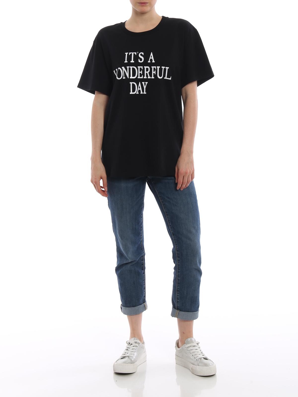 T-shirt nera It's a Wonderful Day Alberta Ferretti