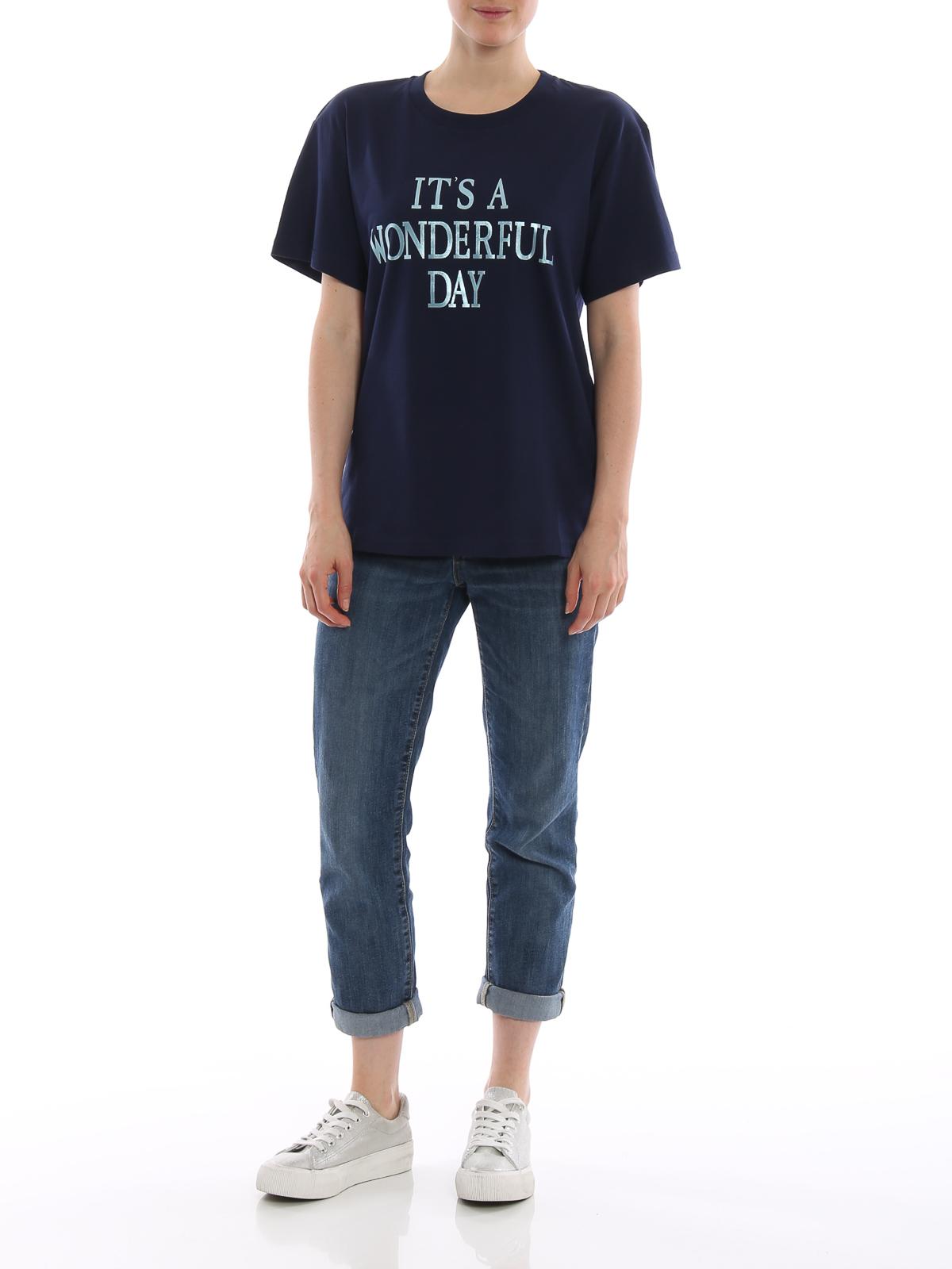 T-shirt navy It's a Wonderful Day Alberta Ferretti