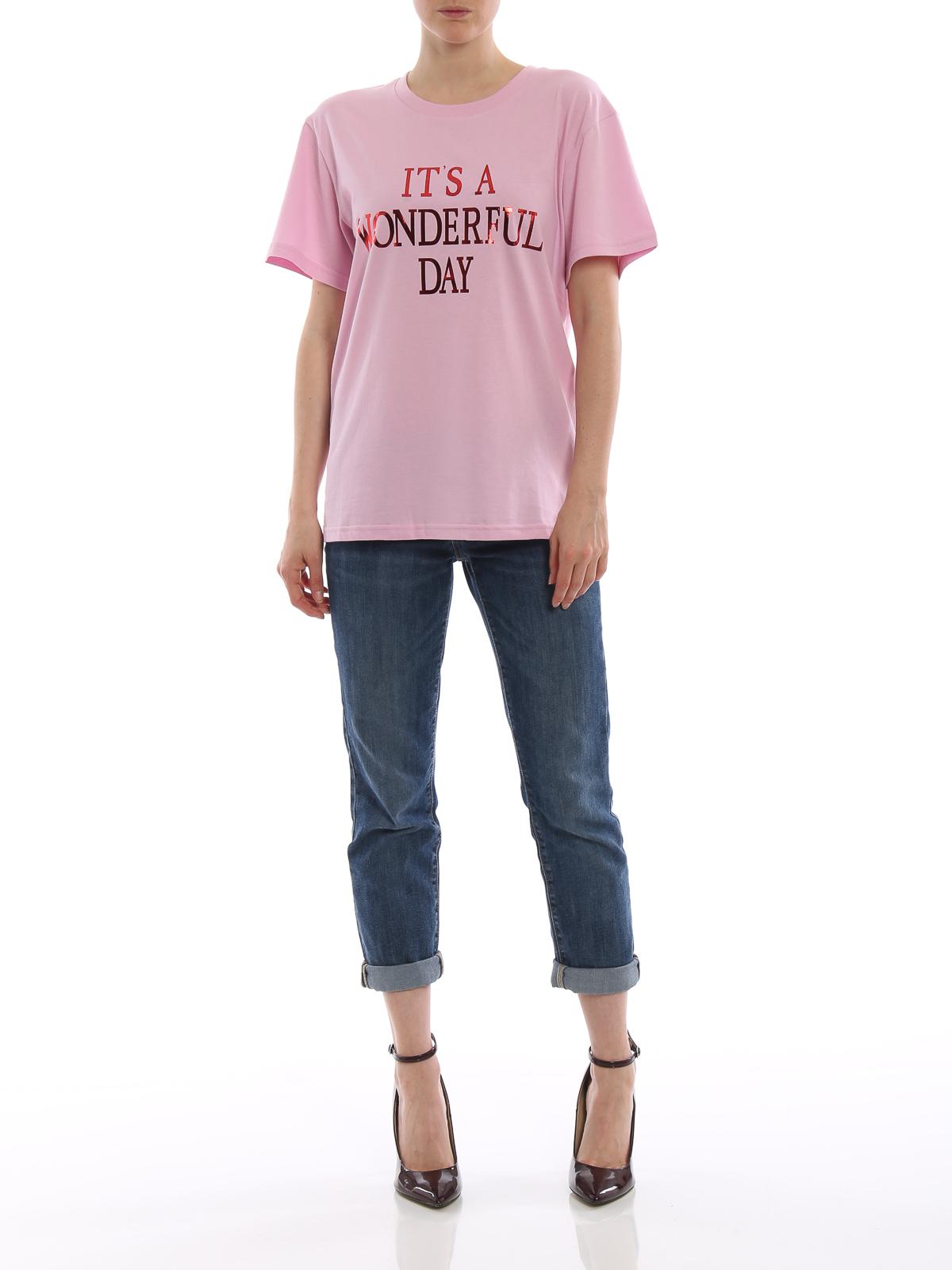 T-shirt rosa It's a Wonderful Day Alberta Ferretti