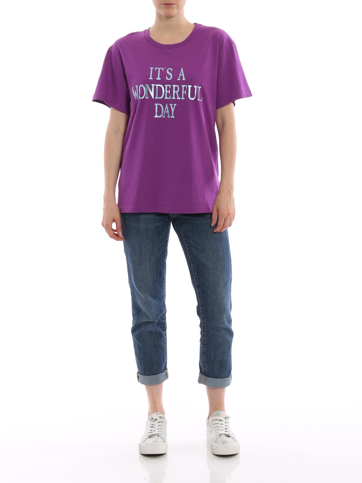 T-shirt viola It's a Wonderful Day Alberta Ferretti