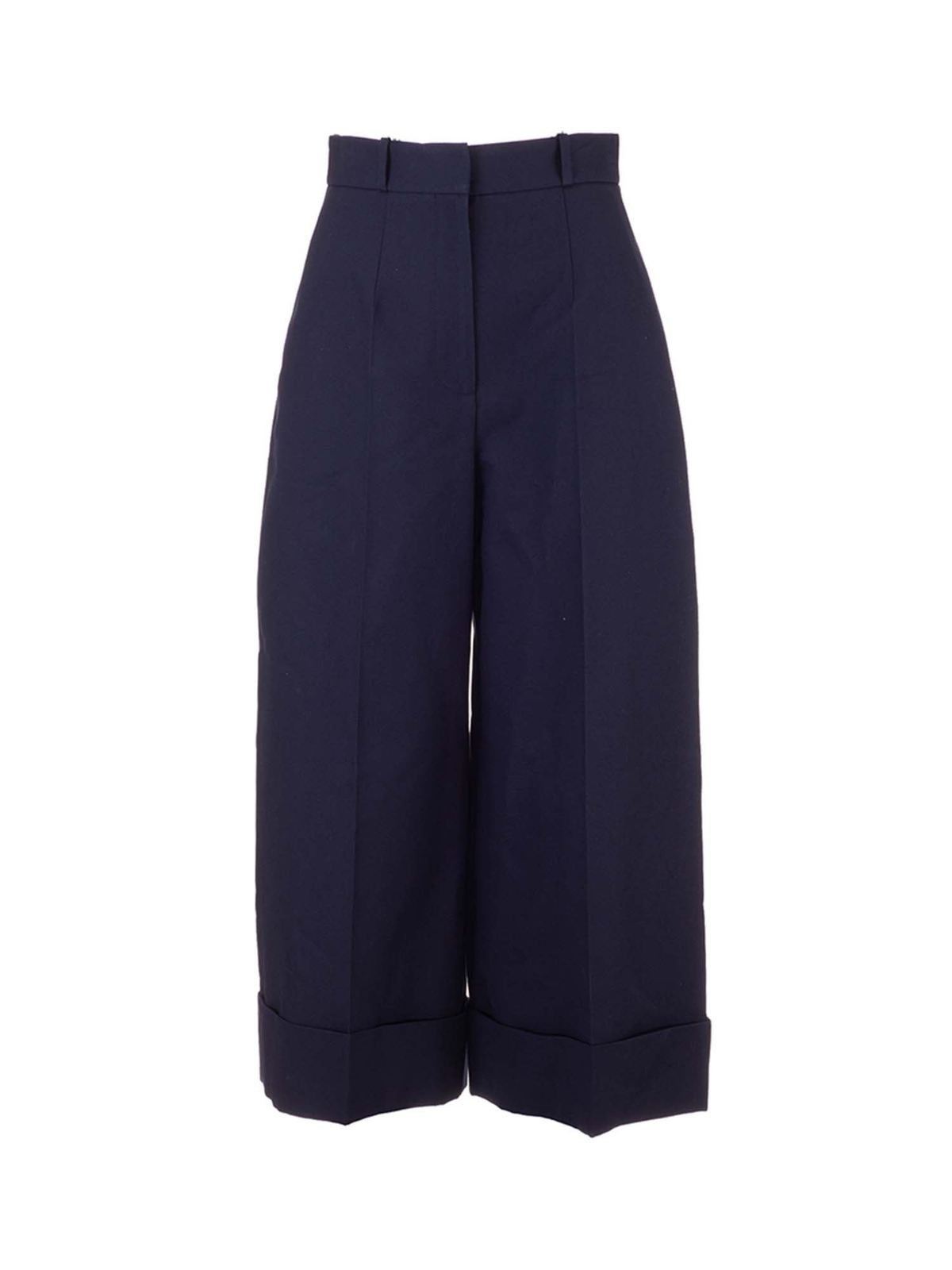 Alexander Mcqueen Downs HIGH-WAISTED TROUSERS IN BLUE